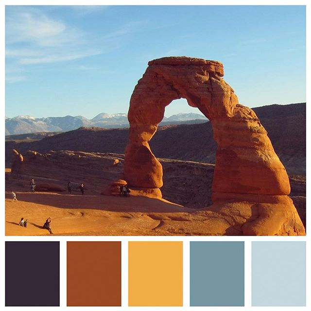 The colors of Arches National Park in Moab, Utah. 🥰 so pretty! . . Learn more about Arches National Park on the blog (link in bio). . . . #color #colorful #colors #colorventures #colorpalette #colorhunters #colorscheme #colorinspiration #designinspiration #sunsetcolors #naturecolors #colorfulnature #rustic #naturalcolors #designlife #designideas #colorideas #archesnationalpark #arches #moabutah #nationalparks #travelblogger #travelinspiration #travelcolorfully #travelphotography #sunset
