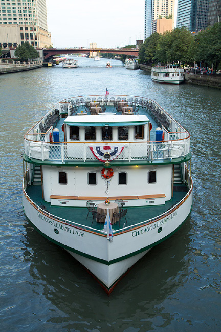 "Cultural Evening EventChicago Architecture River Cruise & Dinner - Friday, September 20, 20196:00pm - 10:00pm""Chicago's Leading Lady"" ship – Boards only steps from The Hyatt Regency Chicago!Welcome aboard! Experience why the Chicago Architecture River Cruise is rated by TripAdvisor as the #1 tour in the City. Chicago architecture is legendary, and you will view it up close and personal! A highly trained and passionate docent will provide a detailed narrative of the various architectural styles that developed here and will share the stories of the people who designed and built one of the world's most famous skylines!6:00pm - 6:30pm Walk to the Boat Dock (across the street from the Hyatt Regency Chicago)7:00pm - 10:00pm Architecture Cruise & DinnerThe relaxing river and lake tour features indoor and outdoor seating, a full-service bar and catering by Harry Caray's Italian Steakhouse and music from a Jazz Trio!Get Your Tickets"