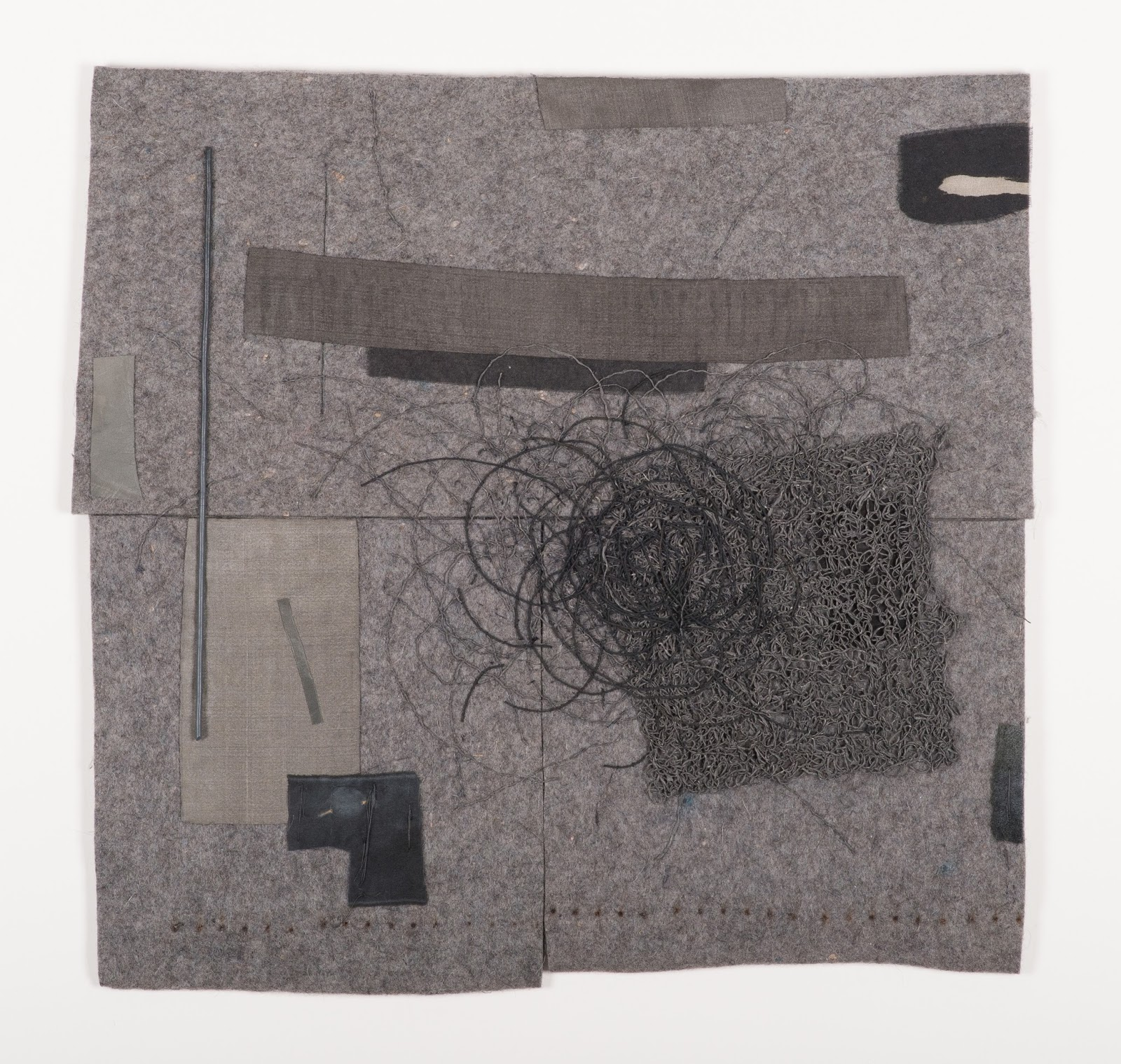 "Michael Olszewski, The Disturbance, Wool felt, silk, linen, metal, hand stitching, appliqué and paint, 29.625"" x 29.125"" (framed), 2014"
