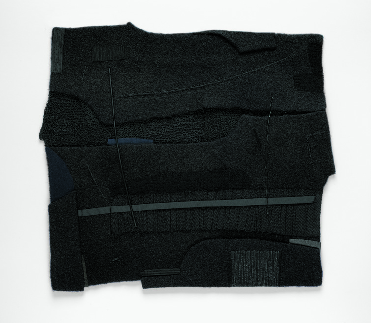 "Michael Olszewski, Lisbrin, Silk, wool, metal, hand-stitched and appliquéd, 29.625"" x 29.125"" (framed), 2015"