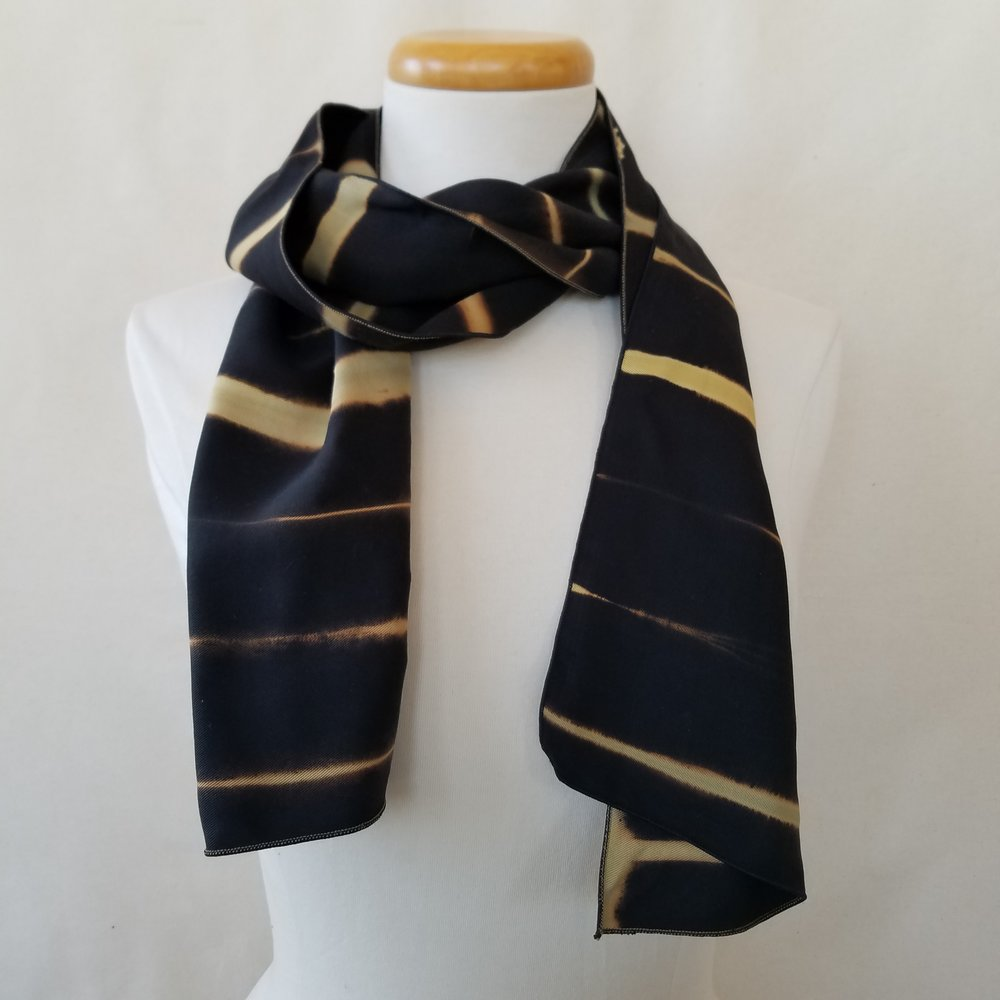 b3425c74e Rectangles and Stripes Tan, Black Discharged Viscose Rayon Scarf.  20190106_155356.jpg