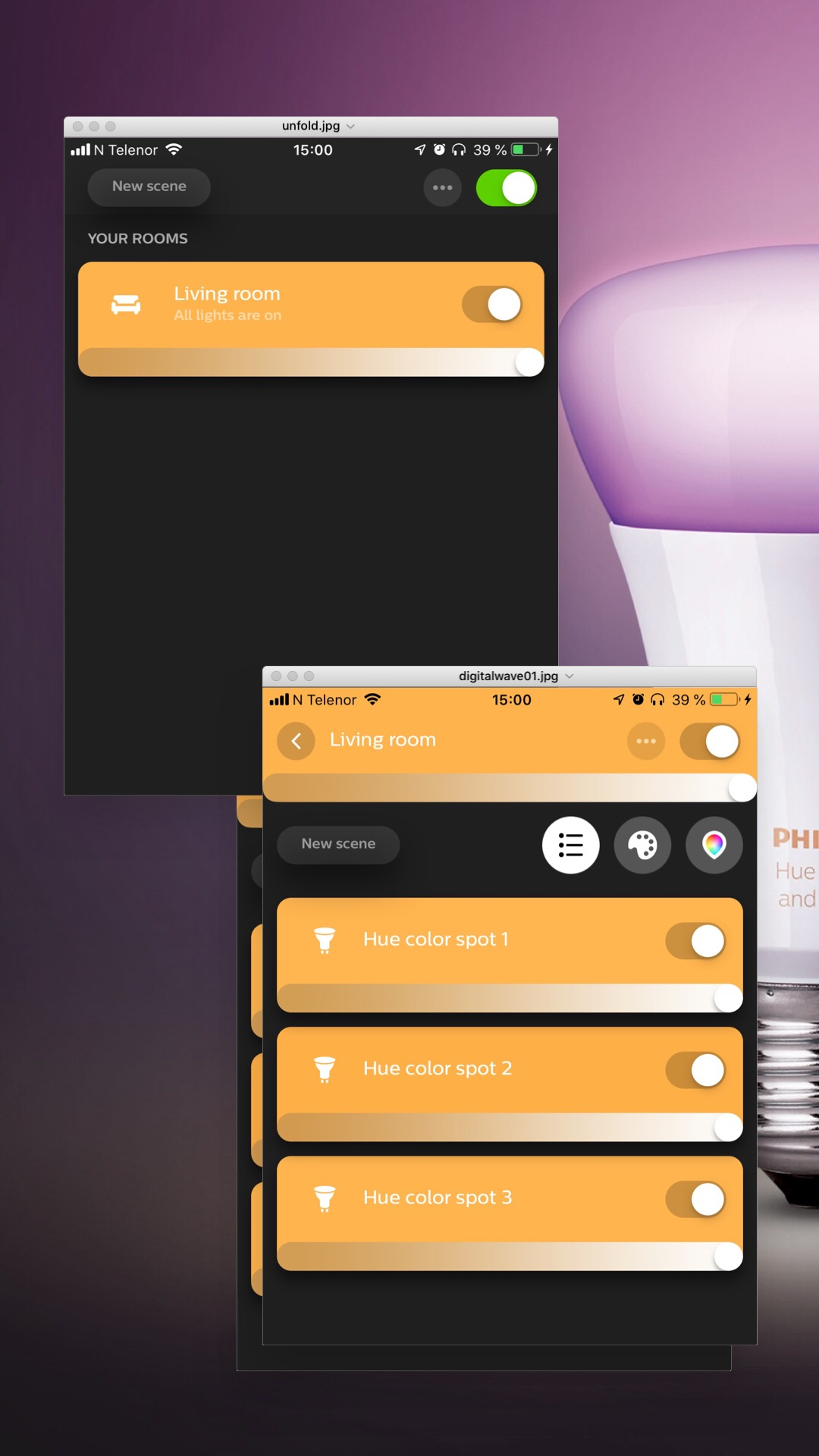 THE HUE APP - You can easily control the lightbulbs with the app, or, if you have an iPhone, through the shortcut on your control panel. You will be given the chance to change color, temprature and brightness.