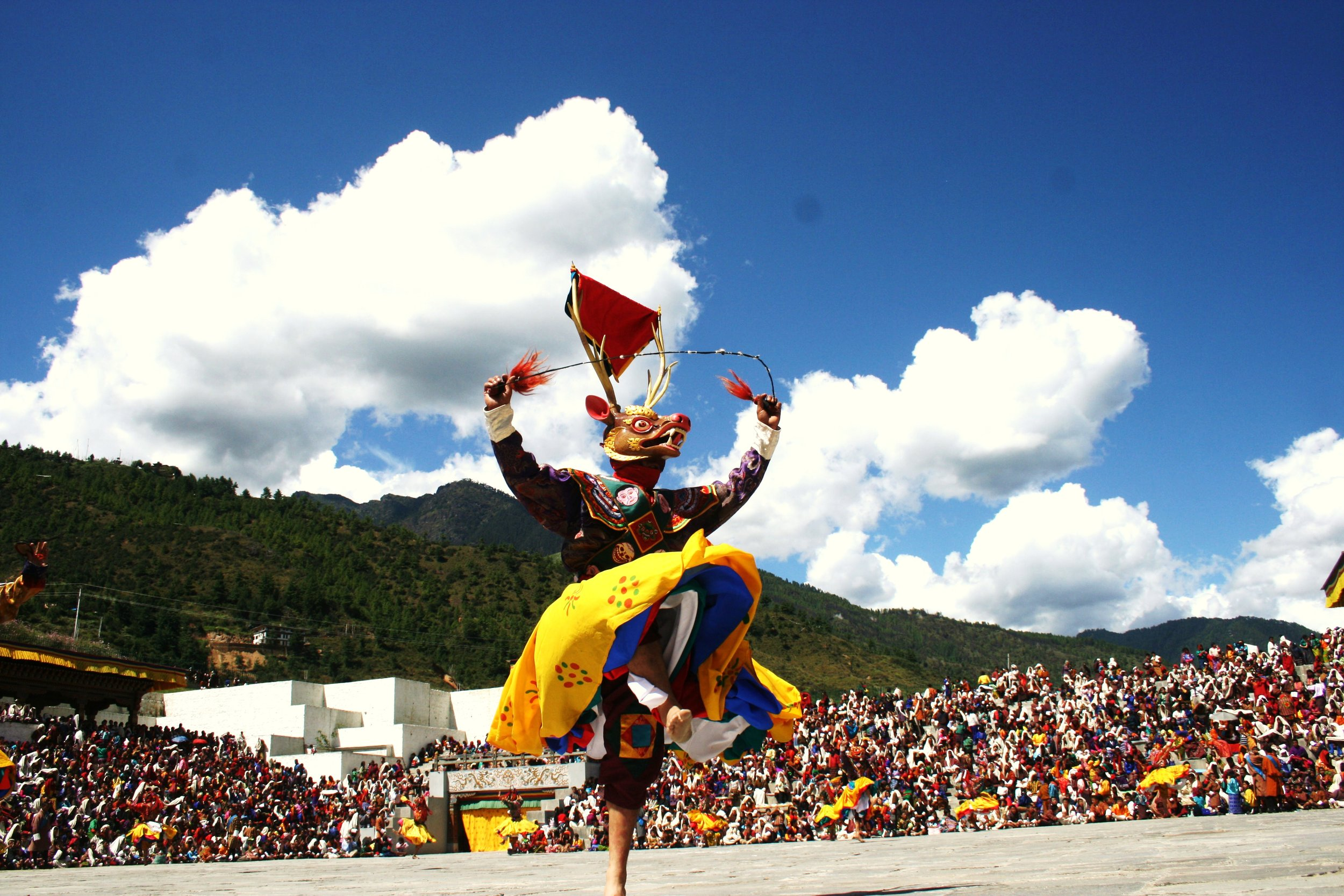 One of the popular dance is the  Shawa cham  or 'The Dance of the Stag' with moral story and dance which purify and protect a place from harmful spirits