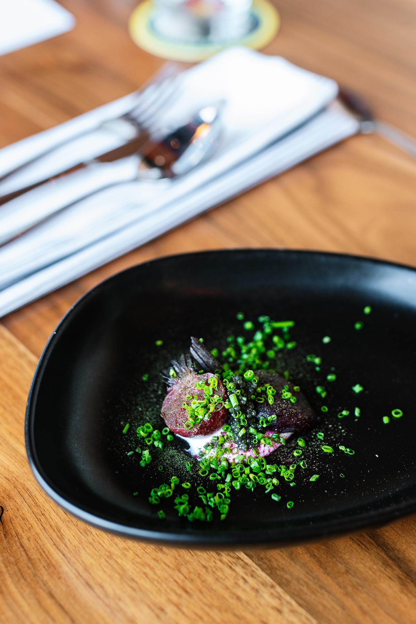 Fat Cured Beets - Goat creme fraiche, MO caviar, chives