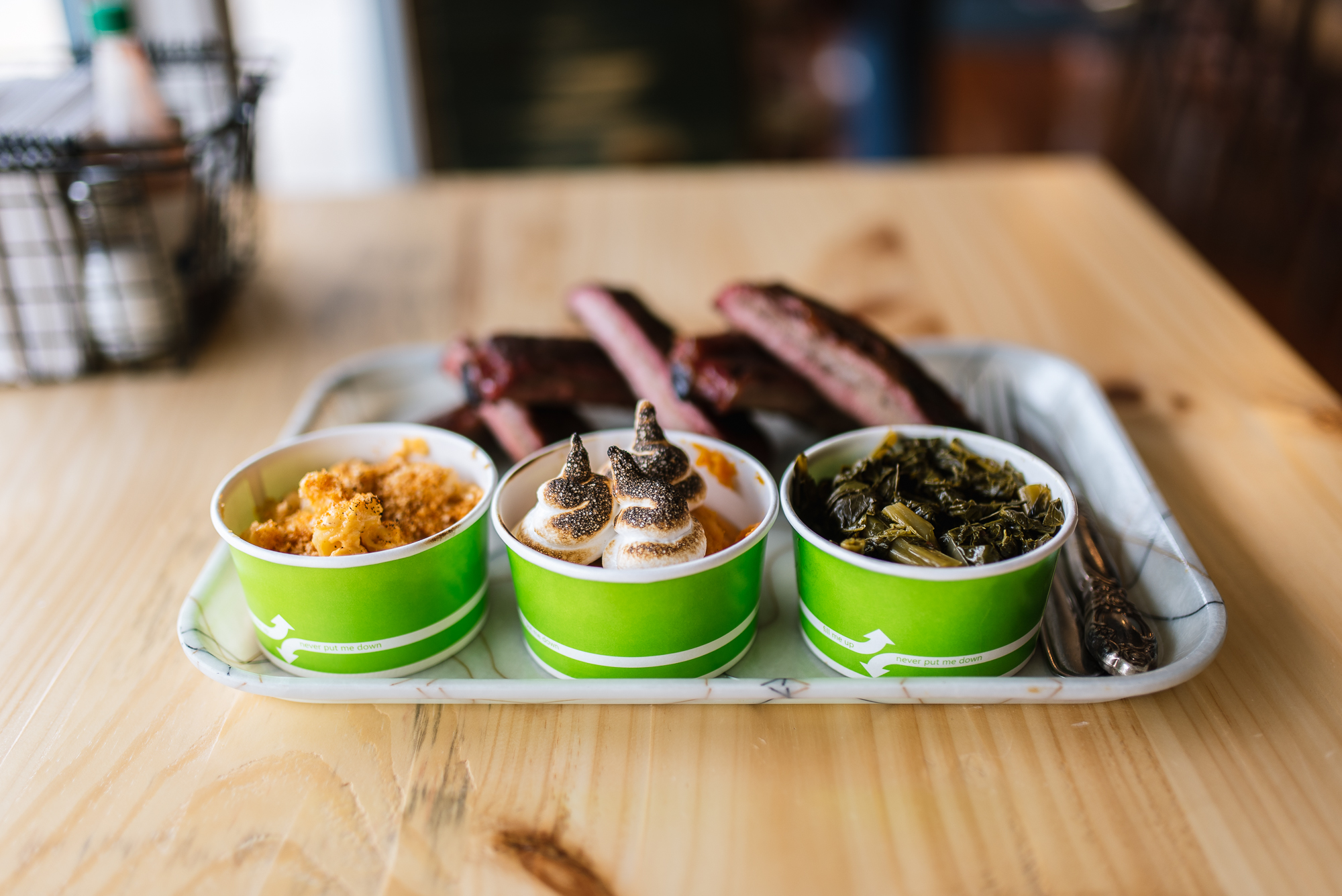 Assorted sides - mac & cheese, sweet potatoes, braised greens