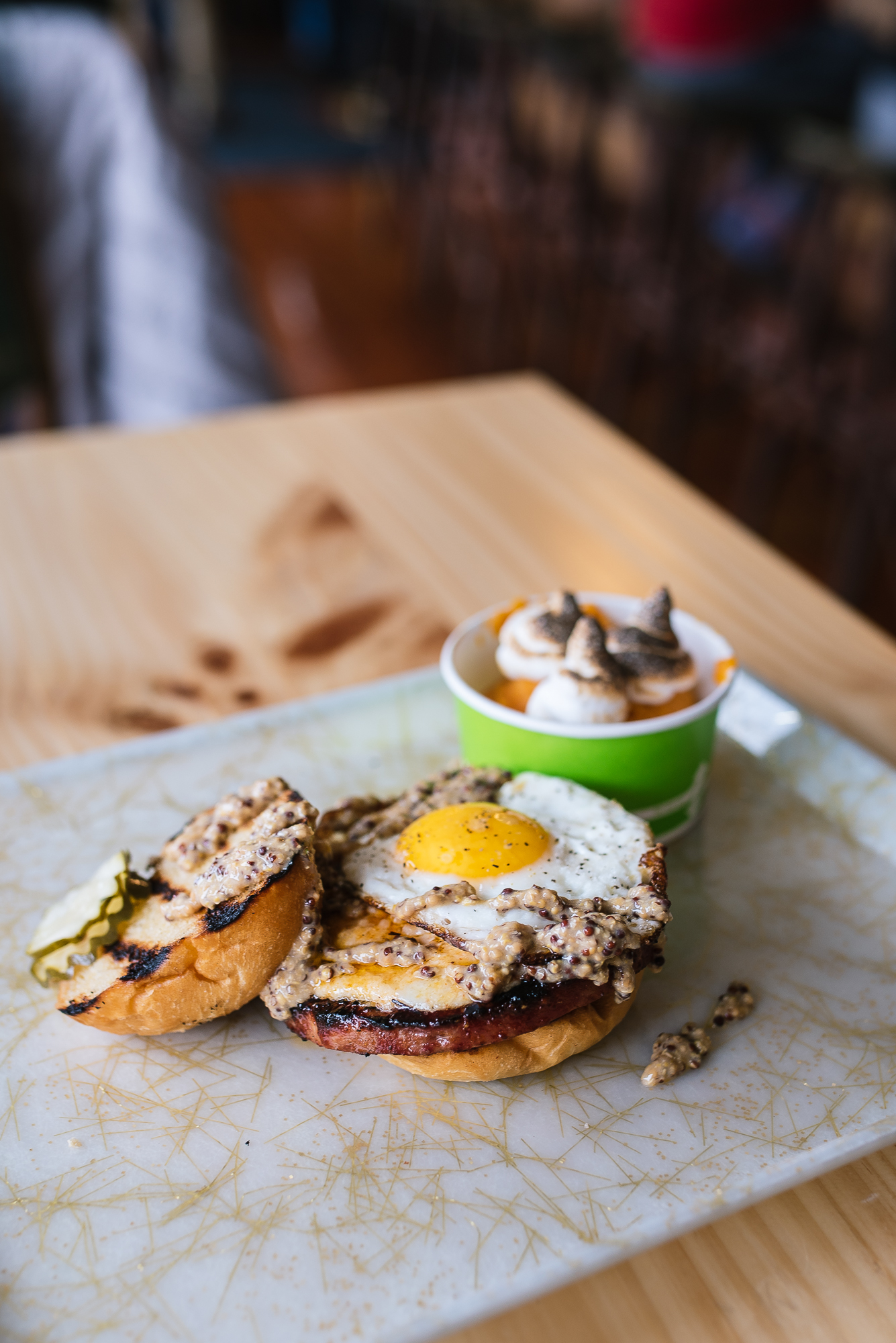 Grilled Bologna Sandwich - pimento cheese, fried egg, mustard