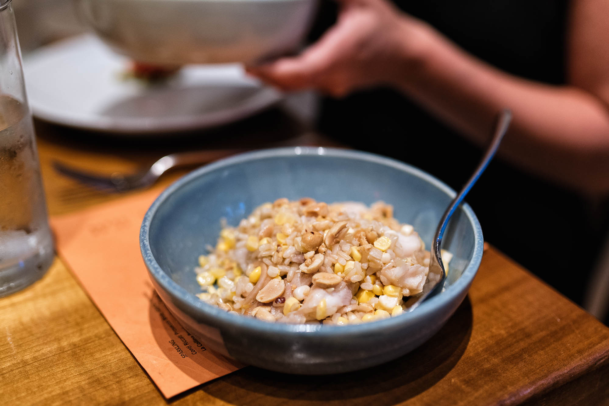Catfish salad - corn, rice, smoked catfish, fish sauce, cider vinegar, peanuts