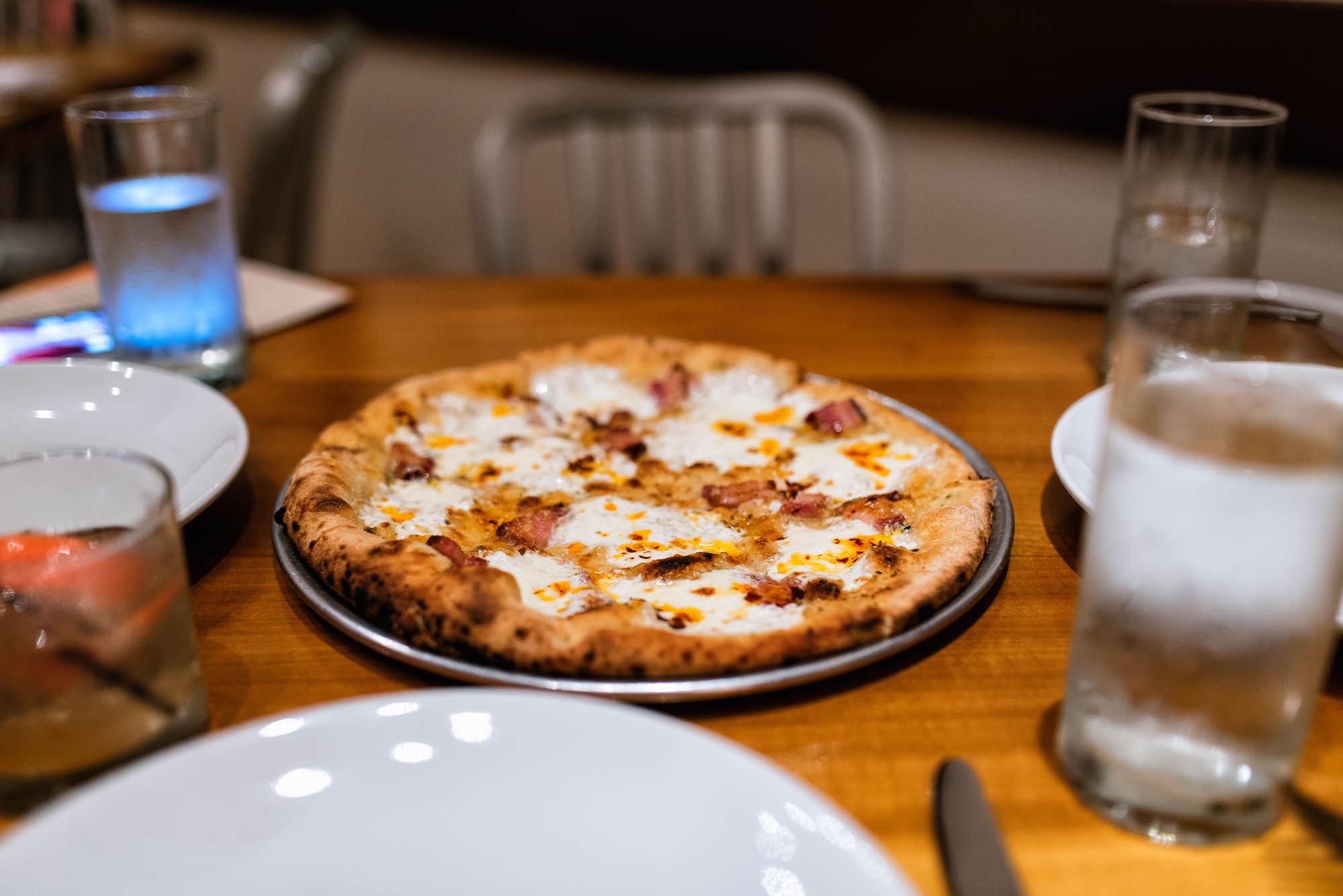 Pizza - belly ham, mozzarella, grana padano, oregano, chilies