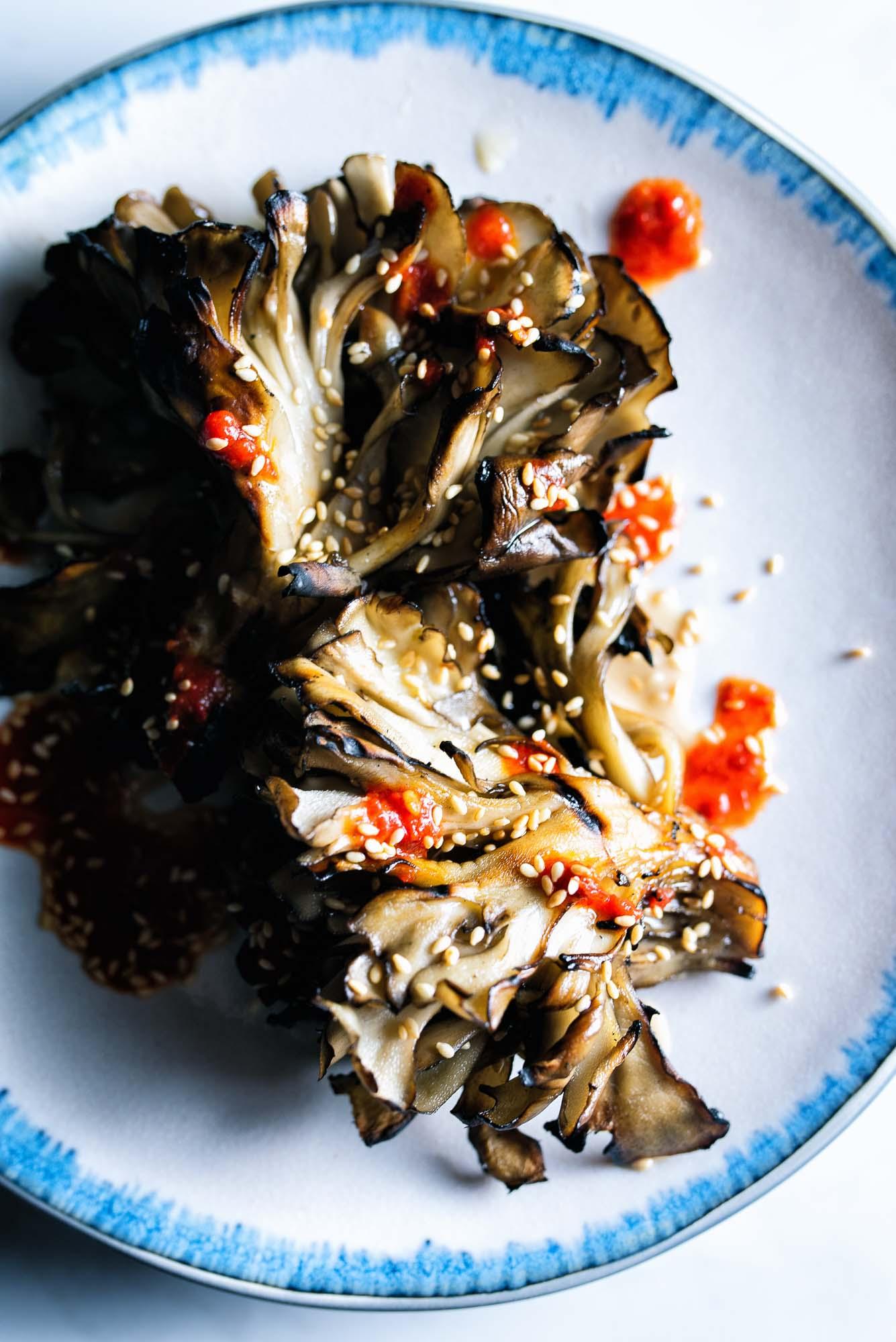 Grilled Mushrooms - harissa, tahini, sesame seeds