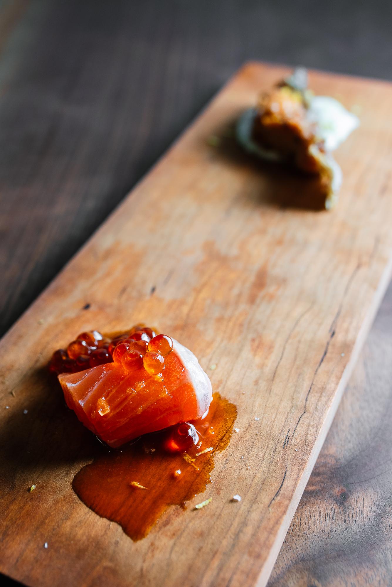 Salmon 3 ways - cooked collar, sashimi with gojiberry zu, marinated ikura