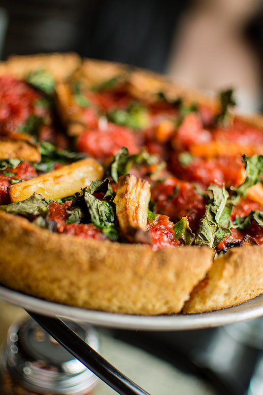 roasted veggie pizza at Pi Pizzeria