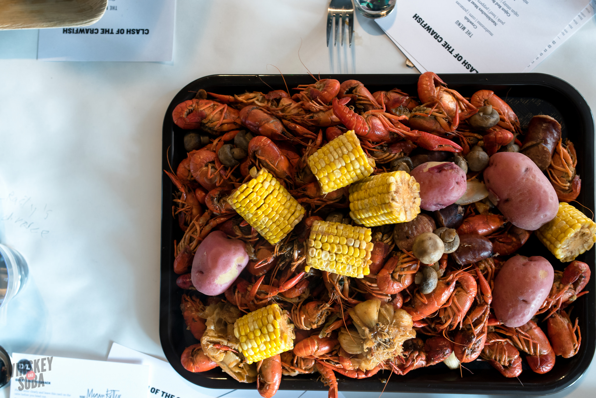 Tray at the Dinner Lab Crawfish Boil