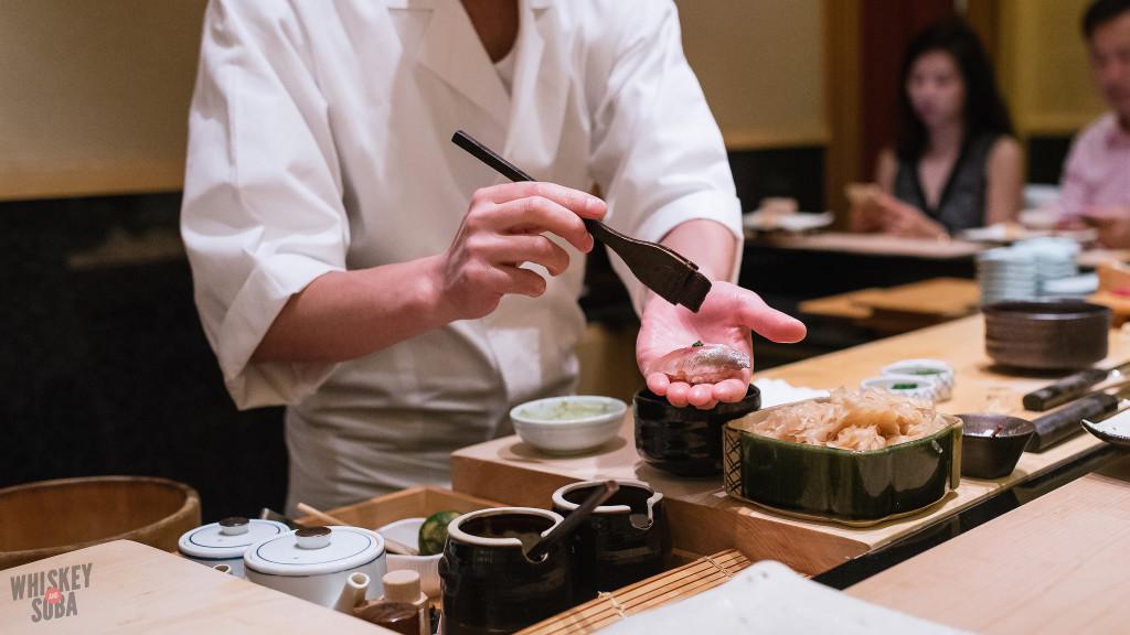 Glazing Sushi at Shinji by Kanesaka