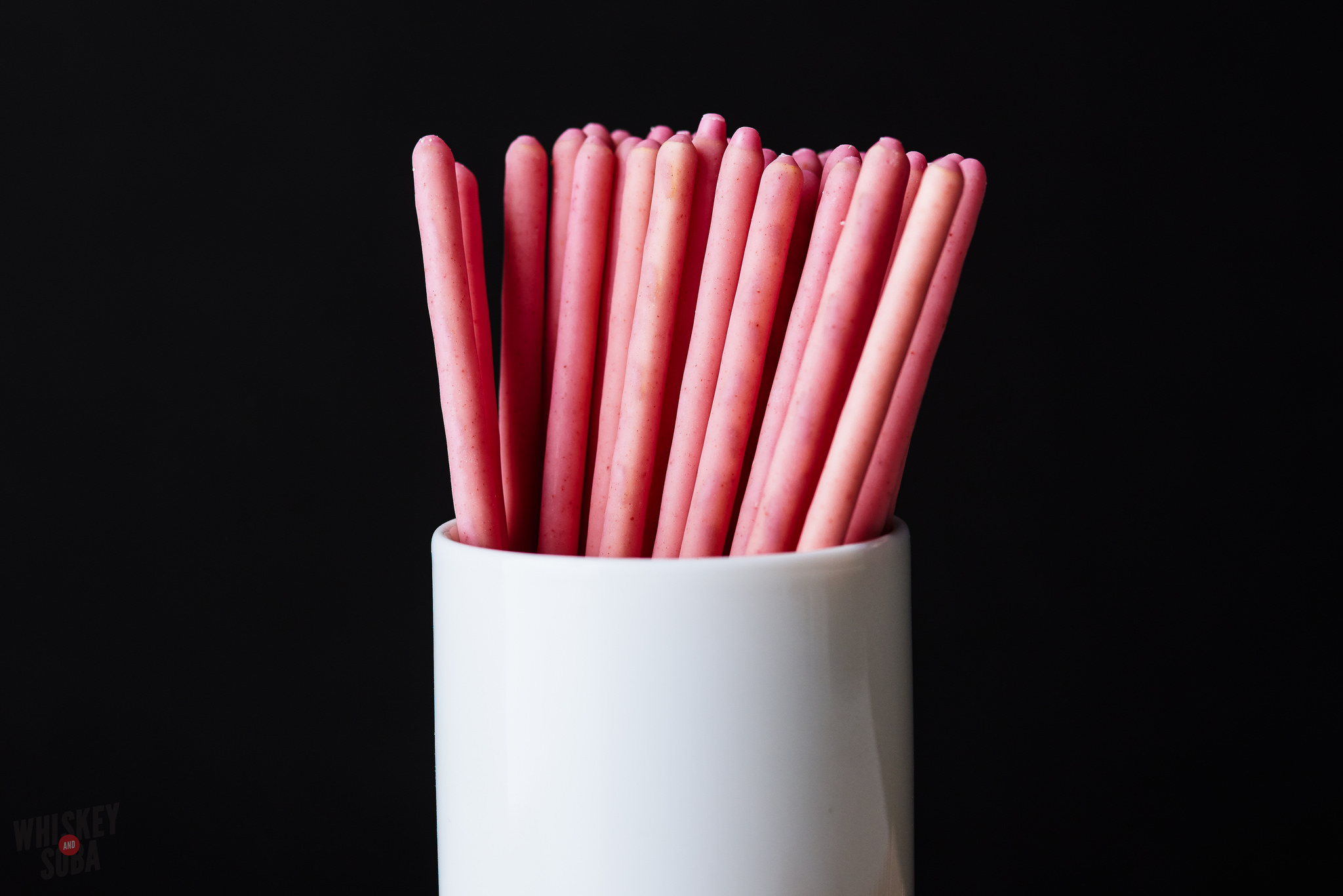 pocky strawberry cream close up
