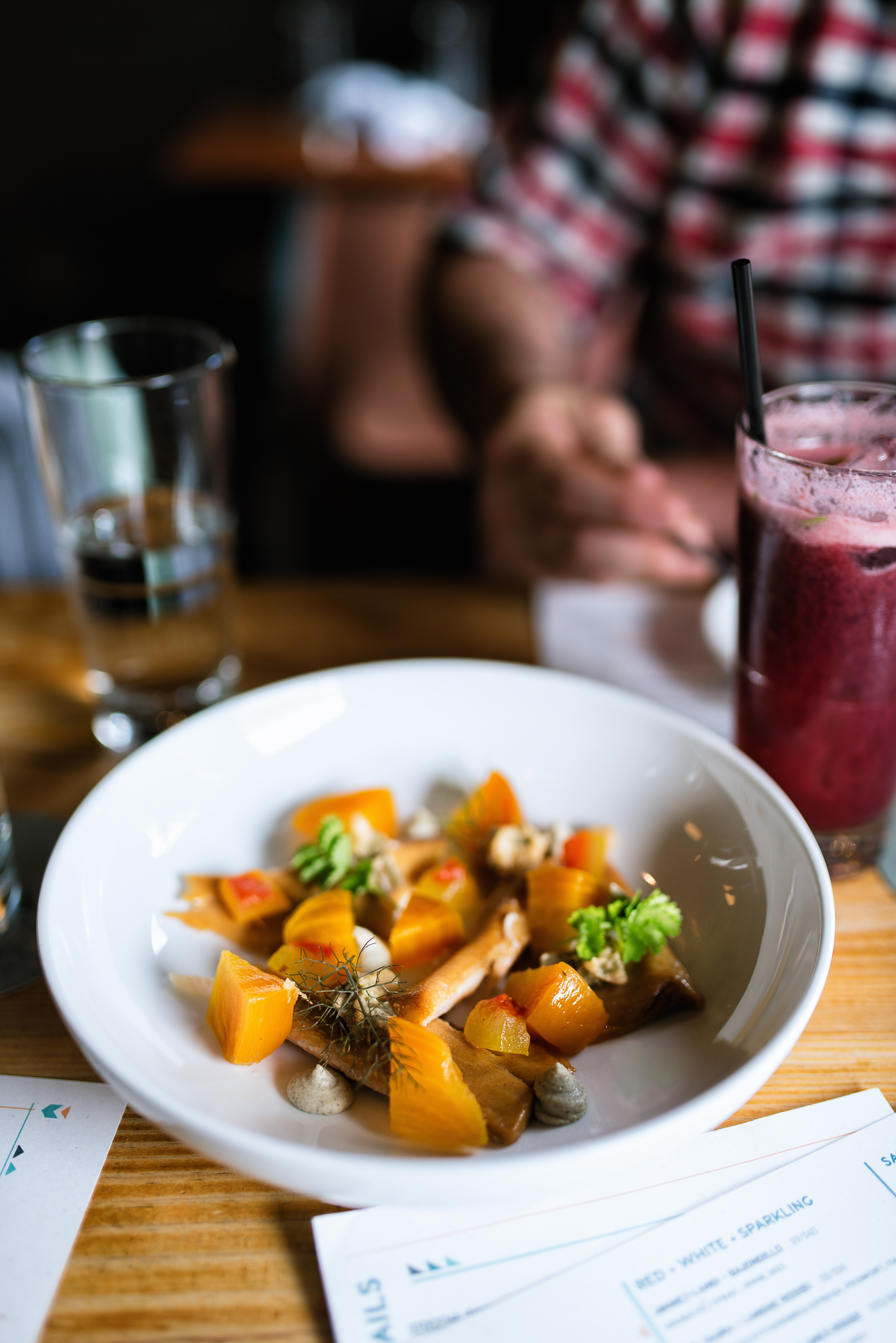Beets - smoked trout, miso, pickled watermelon rind