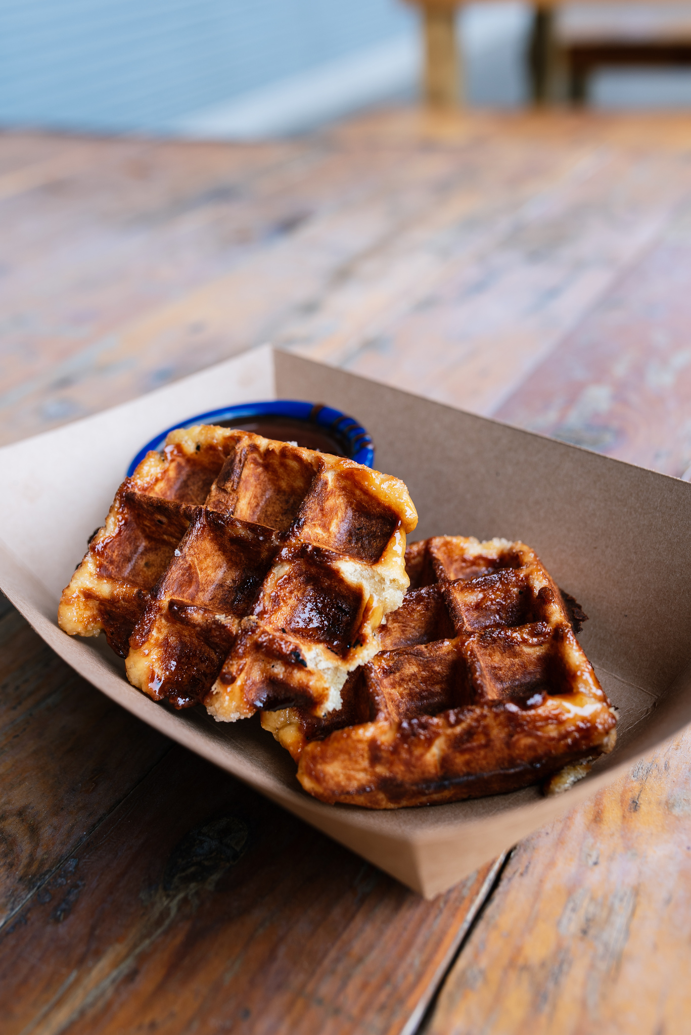 Liege Waffles - yeast waffles, sugar shell, dipping chocolate