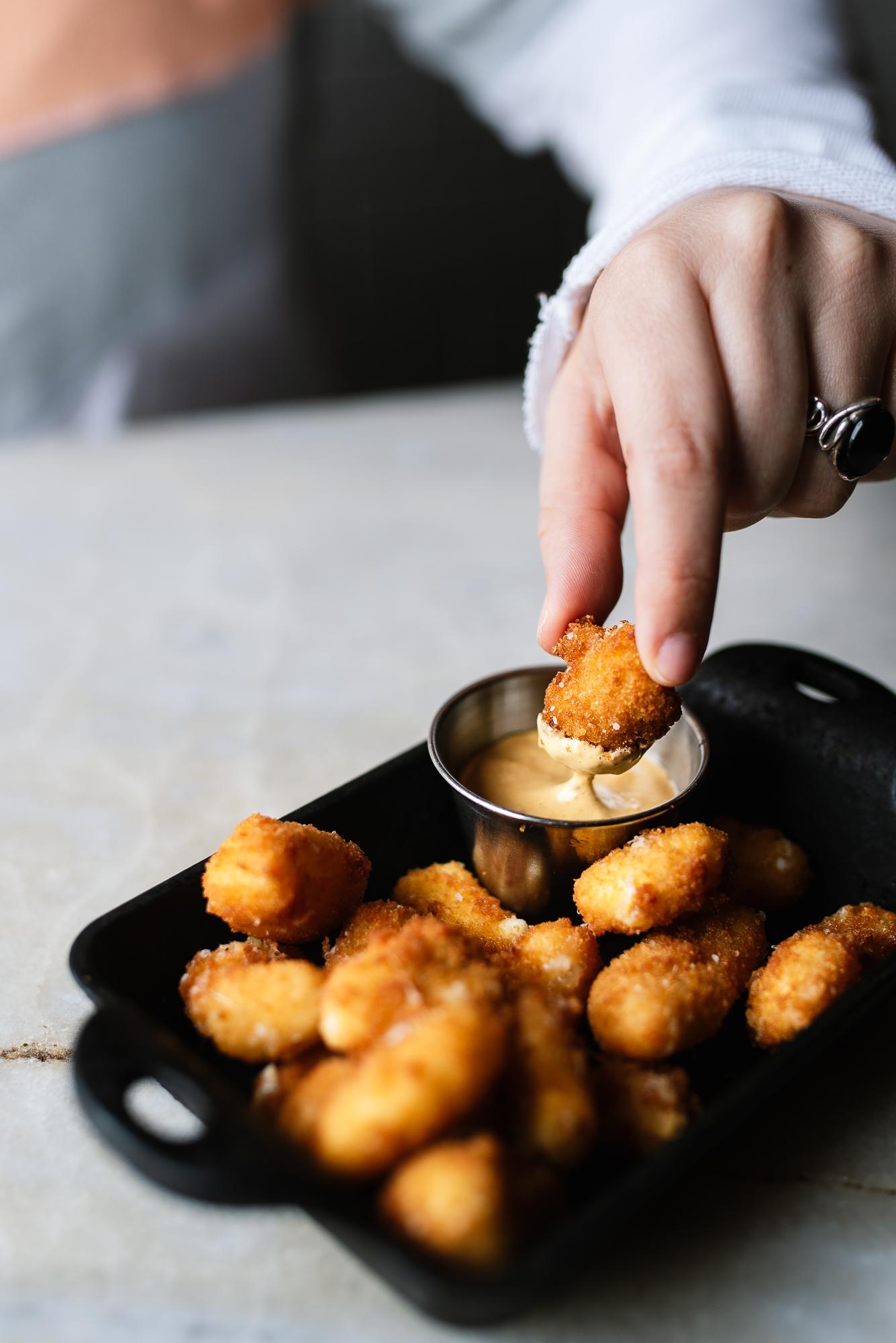 cheese curds - Marcoot curds, harissa aioli
