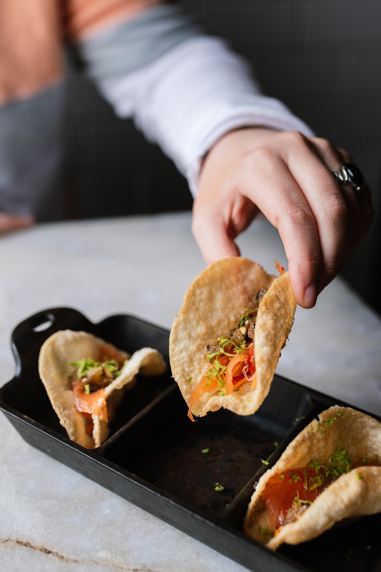 Wonton Tacos - Citrus cured salmon, charred tomatillo relish