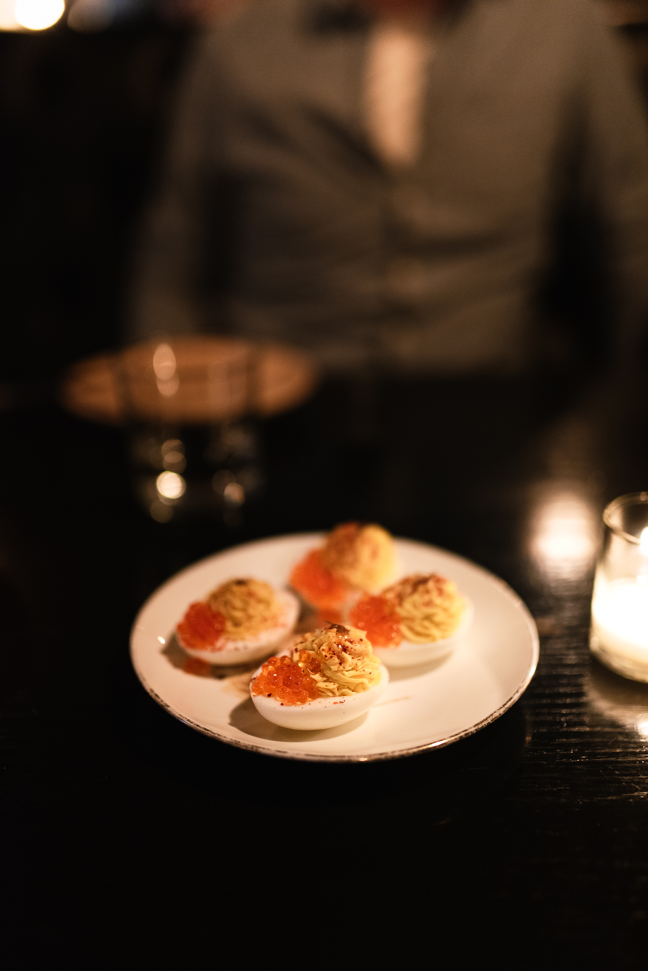 Deviled eggs - smoked trout, roe