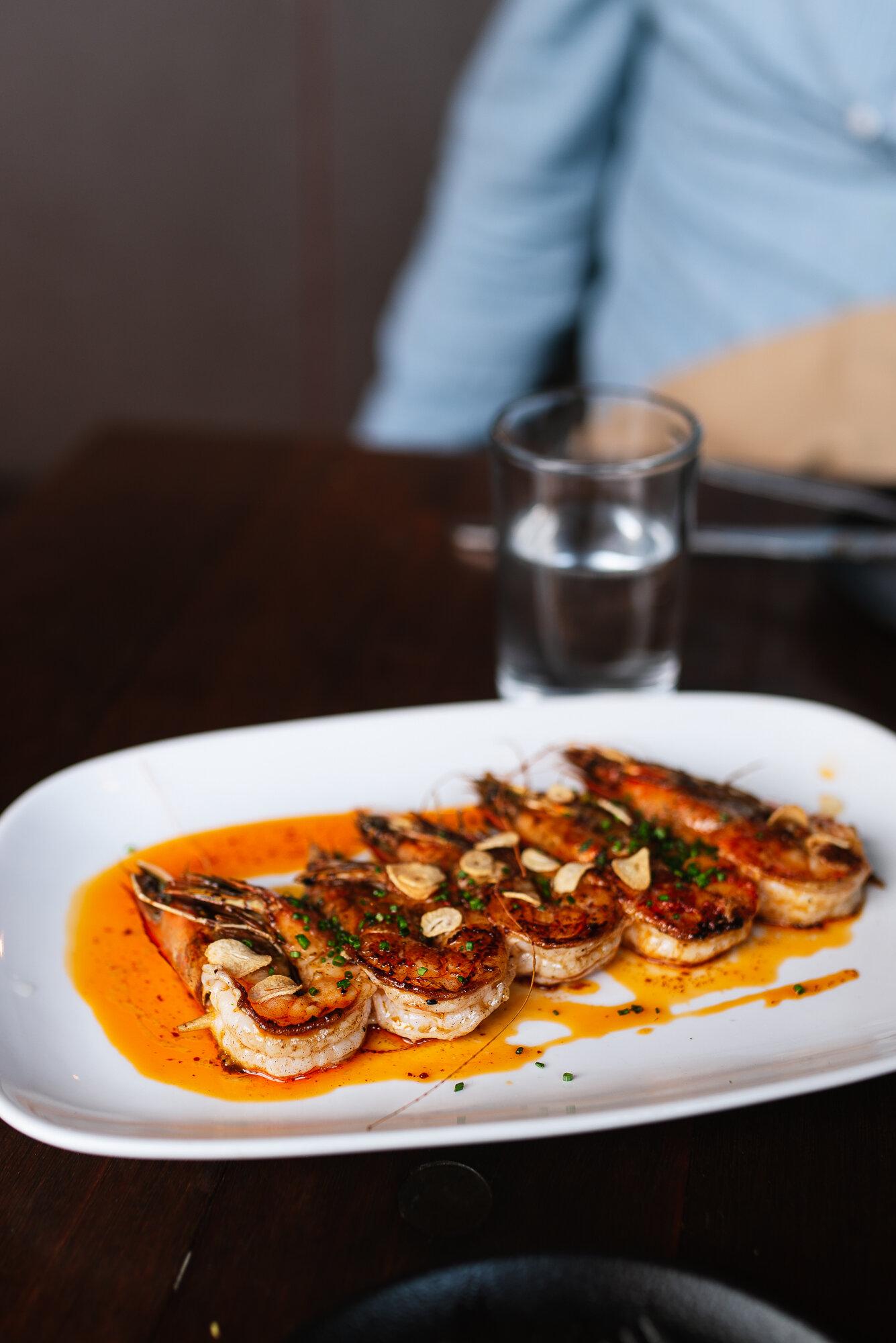 Gambas a la Plancha: kauai prawns, chile, scallion