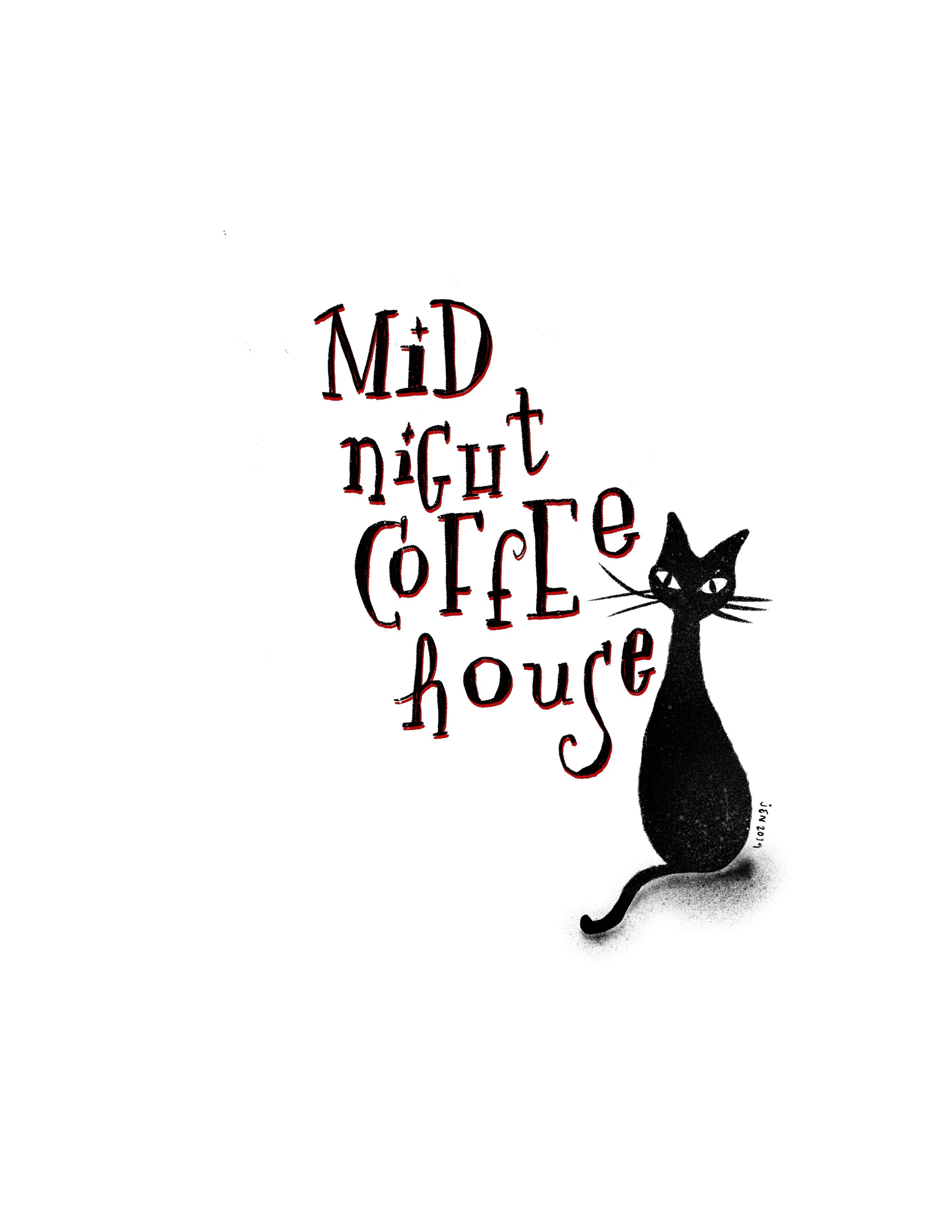 I personally love the look of the cat on it's own, with the text in black and red. It gives the otherwise fun and bright charm of the retro look almost autumnal and spooky feels.