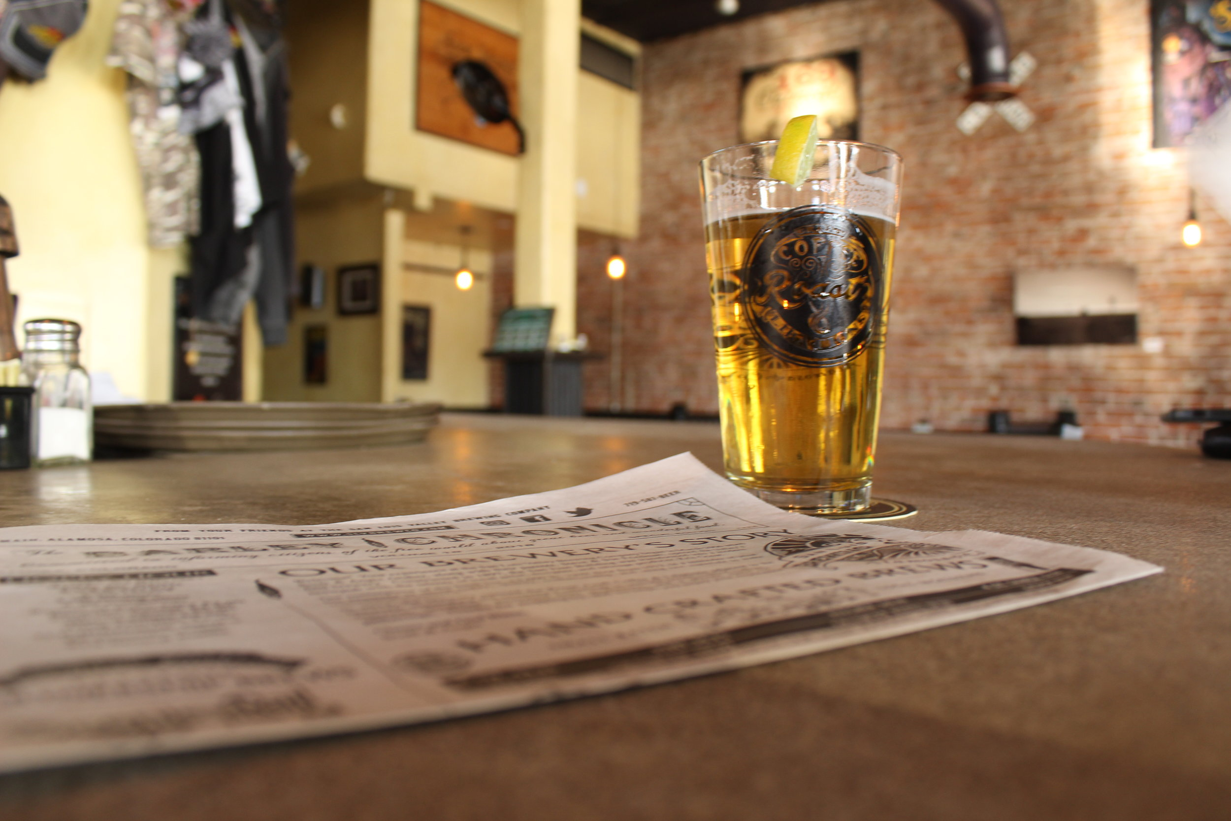Enjoying a green chili lager at San Luis Valley Brewing Company