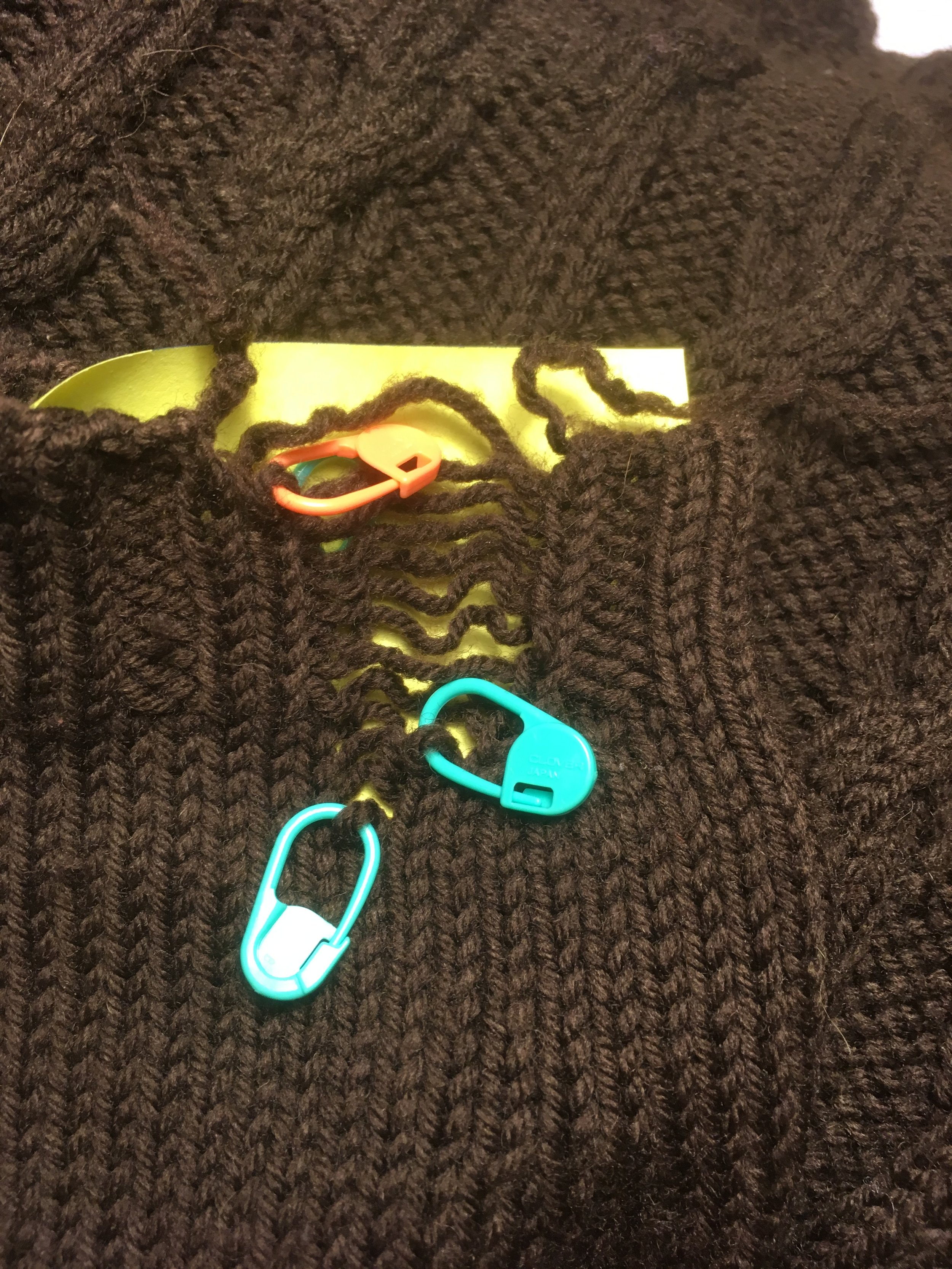 The injured sleeve…I immediately located the loose sts and placed in locking stitch markers.