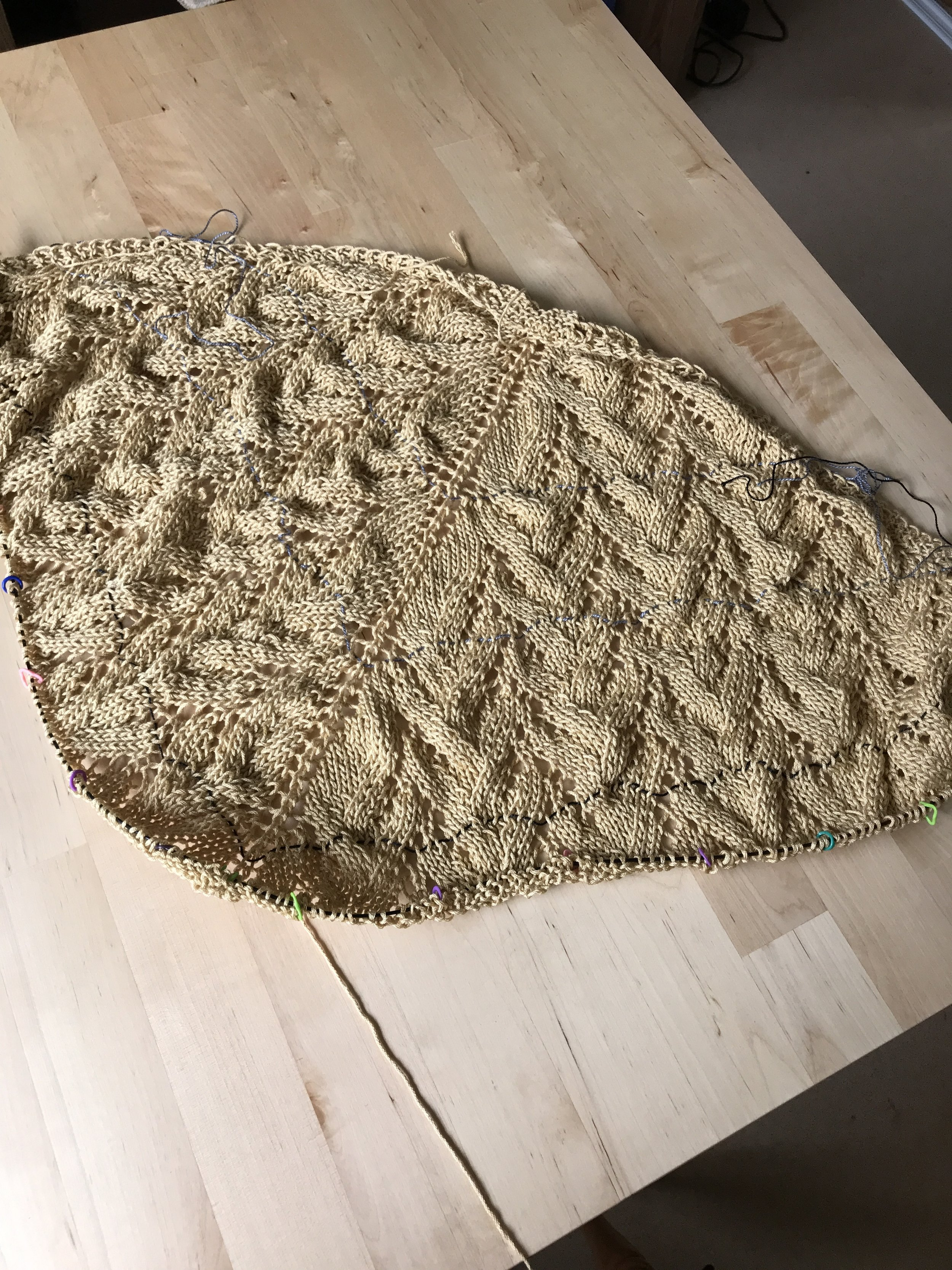 Unblocked, it's a bit hard to see the beauty of this shawl.