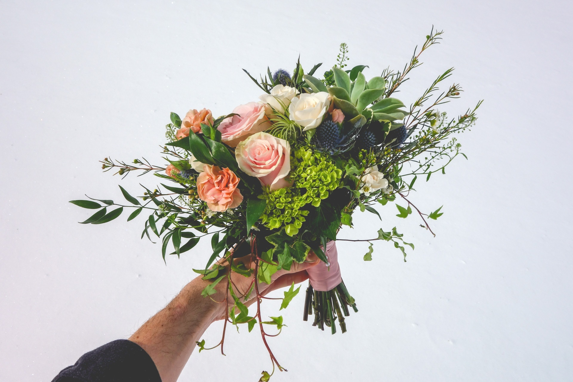 (360 design, succulent and rose/flower mix —paired with succulent boutonniere)