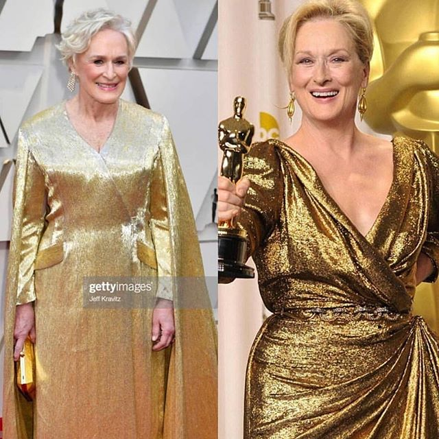 She sure does look like a winner! Carrying a 40lb Gown by @carolinaherrera 🥂 #glennclose ❤️✌️this gown is made of 4million beads by the way.