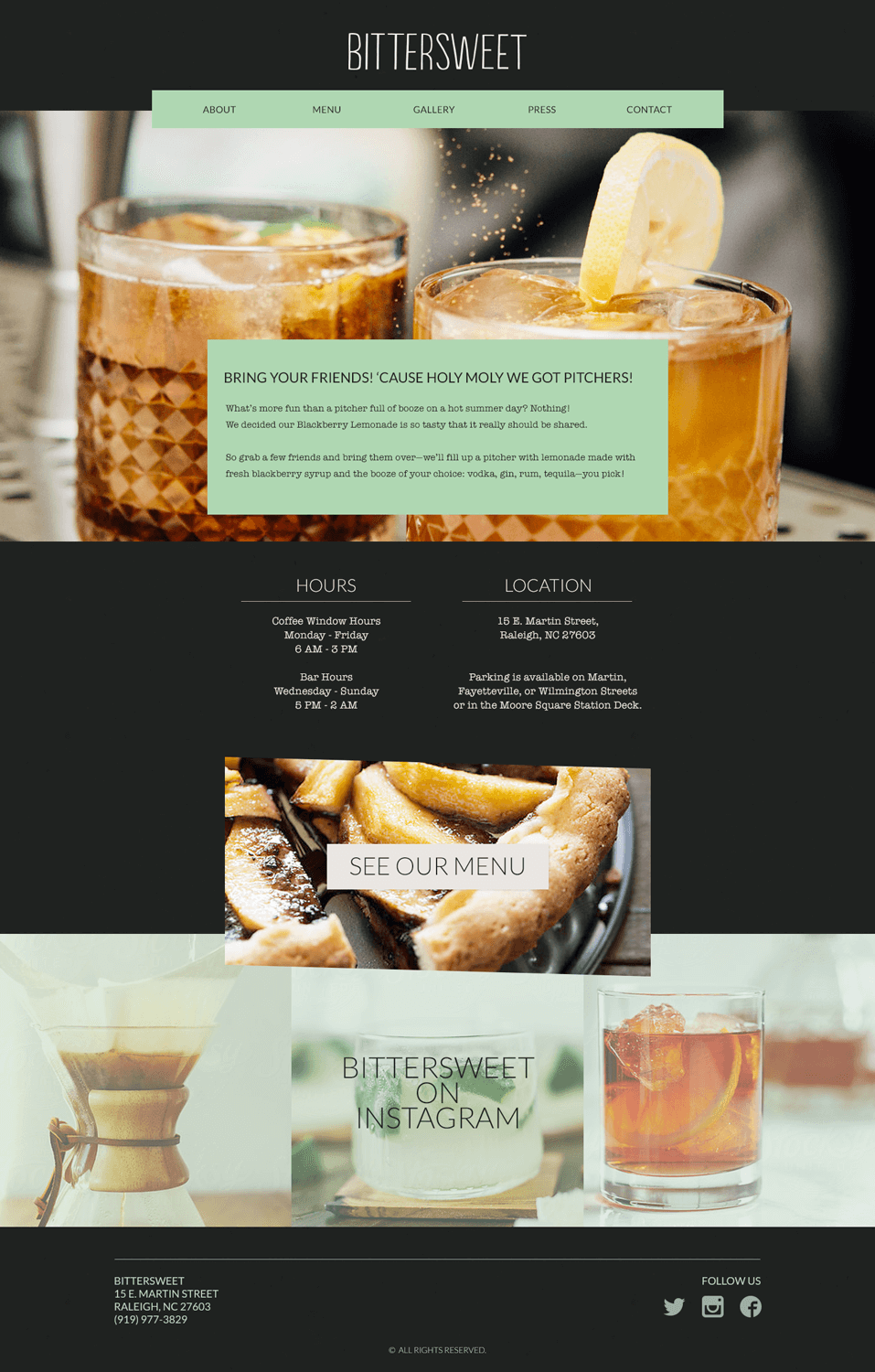 """Web Design - The website for Bittersweet was an important part of the face of their business. It needed to be informational and showcase their delicious cocktails and desserts. Bold strips of color hold important features, as I wanted to carry consistency of the slightly off-kilter, handmade vibe of the brand into the web presence. Event features on the top of the homepage and a large Instagram feed were essential. Secondary to that and sandwiched in-between are the two most frequently asked questions when people called in: """"What are your hours?"""" and """"Where are you located?""""I developed this site in Wordpress so that it would be super easy for the client to go in and make content updates and add images. As we knew most people would be viewing the site on their phones, having a responsive site was of the utmost importance. I created their theme from scratch working in PHP, HTML, using Sass for styling."""