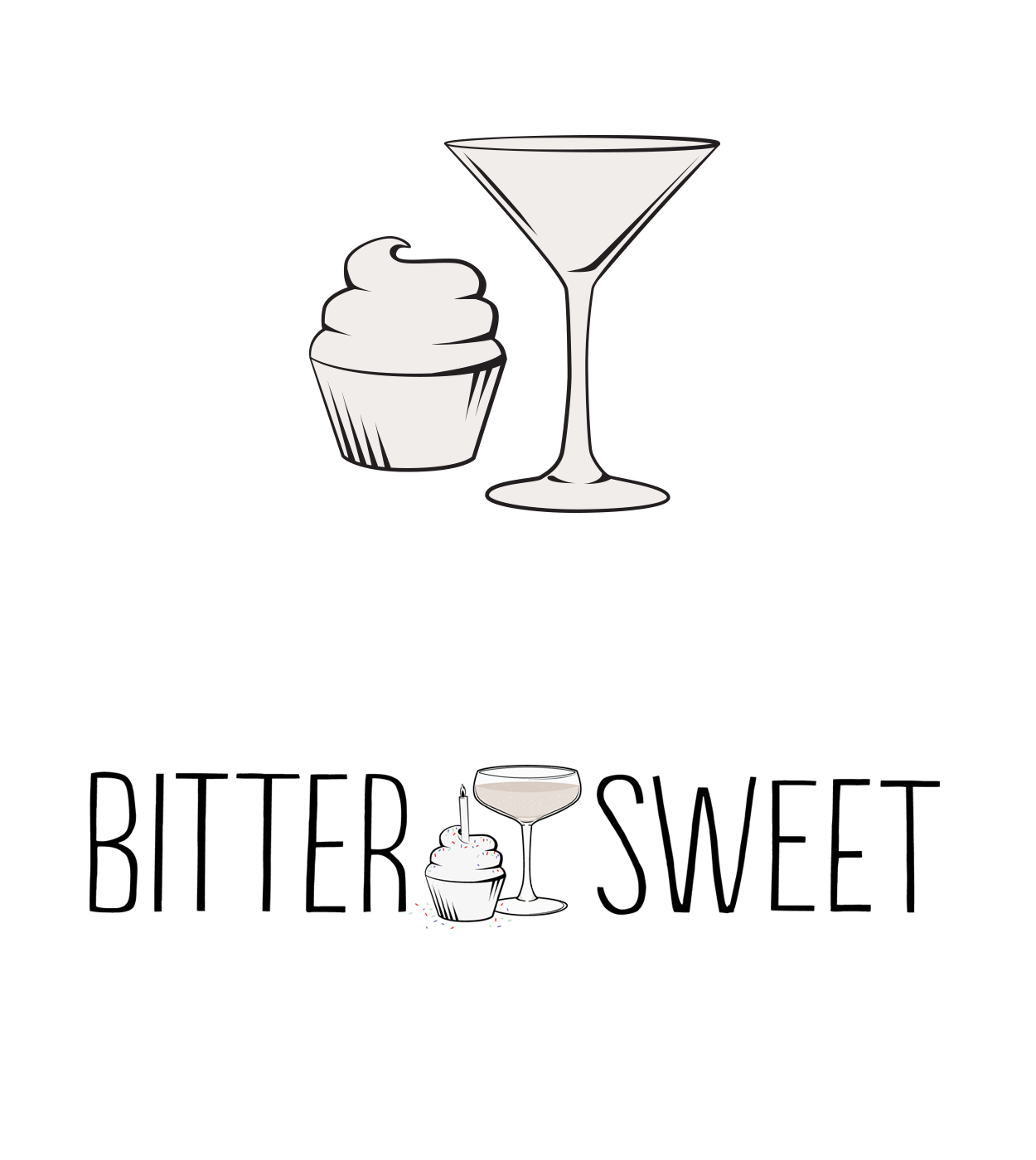 Branding Details - The cupcake and martini glass were part of the original logo concepts, and now they are used as accents throughout the brand. The cupcake, itself, plays homage to the roots of the owner, who started off running a successful home-based cupcake bakery.The birthday logo was created to celebrate the 4-year anniversary of the bar. I changed the martini glass out for a celebratory glass of champagne.