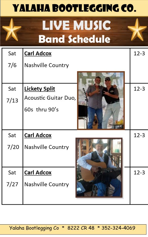 Yalaha Bootlegging Co | July Band Schedule