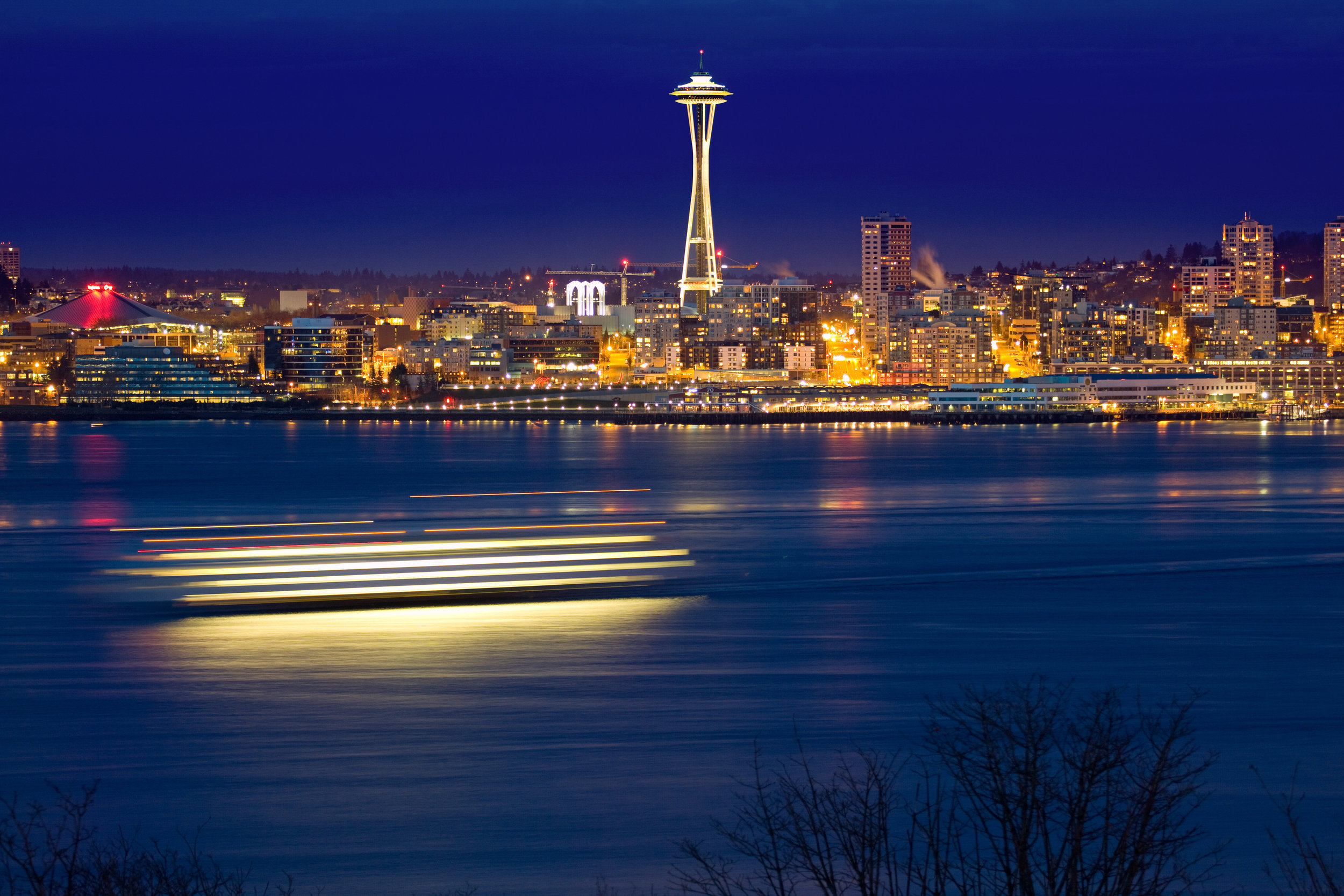 Space Needle on it's finest during night time in Seattle.