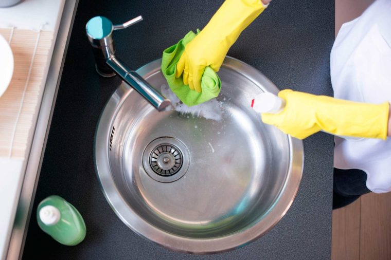Can Clean a Stainless Steel Sink - For fresher-smelling kitchen sink follow the instructions:Wet the sink, sprinkle baking soda over the surface and scrub. Use a scrub brush or sponge to gently scrub the surface with the baking soda. I love seeing the dirt and food build-up magically disappear. Rinse with clean water thoroughly.This way you can clean easily your kitchen sink, making more cleaned and look fresher. You'll definitely amazed at the outcome after using the baking soda.