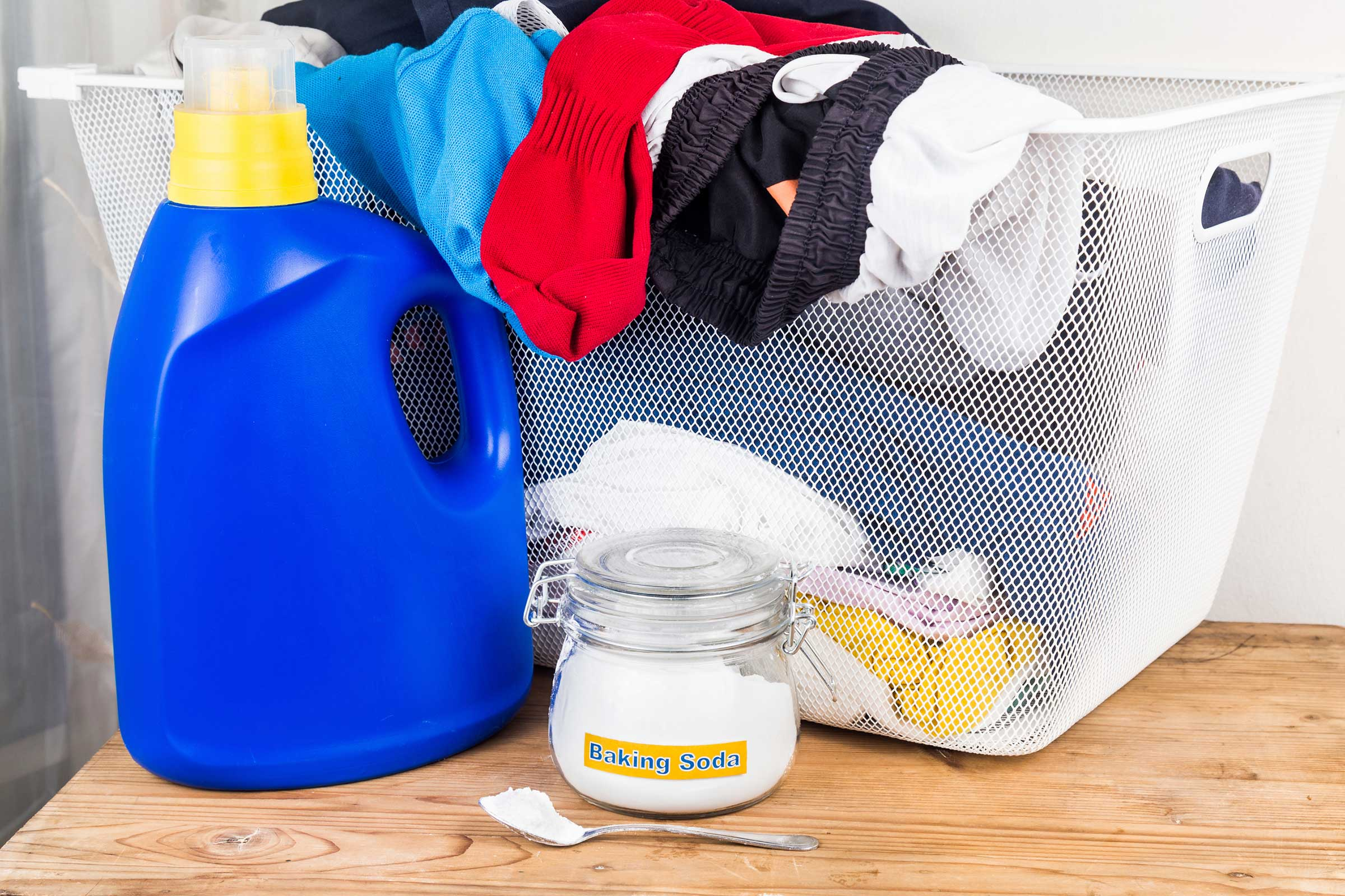 "Serves as a Laundry Detergent - Baking soda can also be used as a fabric softener in your laundry, or to get your clothes whiter and brighter. Adding 1/2 cup baking soda to your usual amount of liquid laundry detergent really will give you ""whiter whites"" and brighter colors. The baking soda also softens the water, so you can actually use less detergent. Adding 1/2 cup baking soda in top-loading machines (1/4 cup for front-loaders) also increases the potency of bleach, so you need only half the usual amount of bleach."