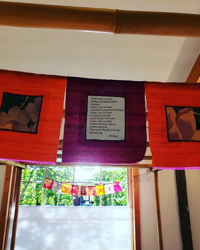 Lindsay Aickin will be in the Gallery today, showing her beautiful prayer flags made from antique kimono and upcycled silk and other textiles. Such a lovely way to bring inspiration and mindful remembrance into your day, every day! We are open today from noon to 5. We would love to see you! #lindsayaickin #prayerflags #upcycle #repurposedkimono #juddcreekranchgallery