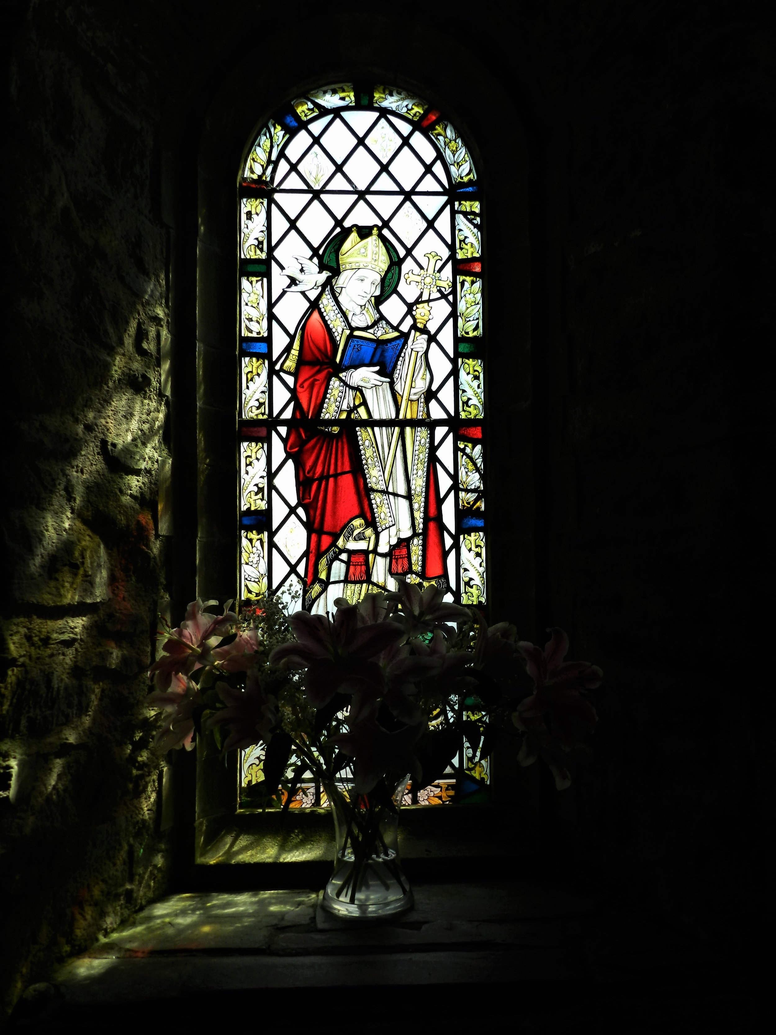 St. Non's Chapel, Wales | Stained Glass of St David