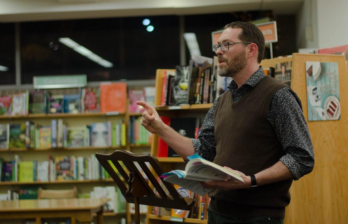 David Kopacz at Re-humanizing Medicine book signing at University of Washington Bookstore, January 2014 (Photo: Salin Sriudomporn)