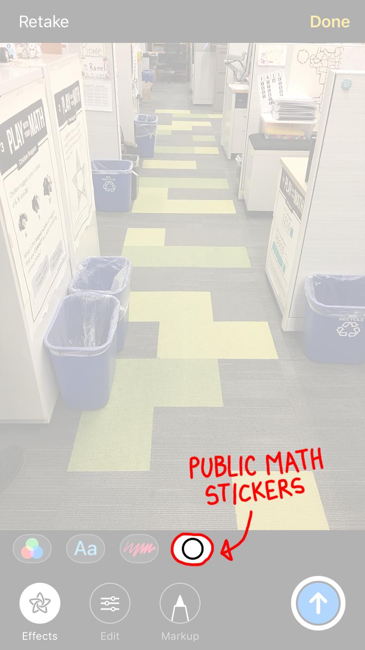 Select the Public Math sticker icon. -
