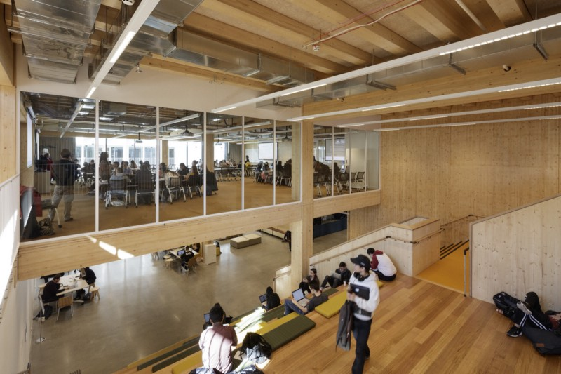 Australian National University, Canberra; Collaborative Learning Environment. A purpose built, all timber six storey building, designed with flexible large flat floor spaces for blended learning and informal study spaces. Designed by BVN. Photo, John Gollings