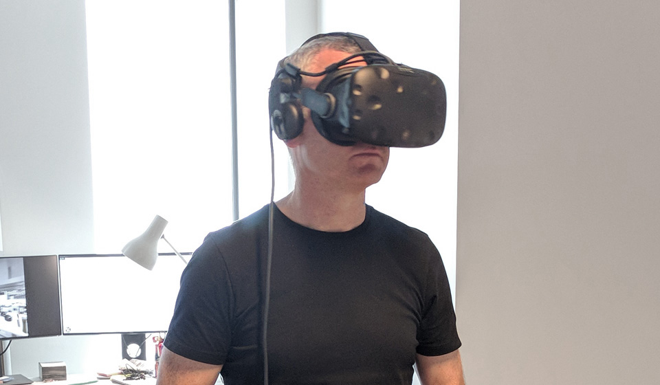 Lonely man in VR.