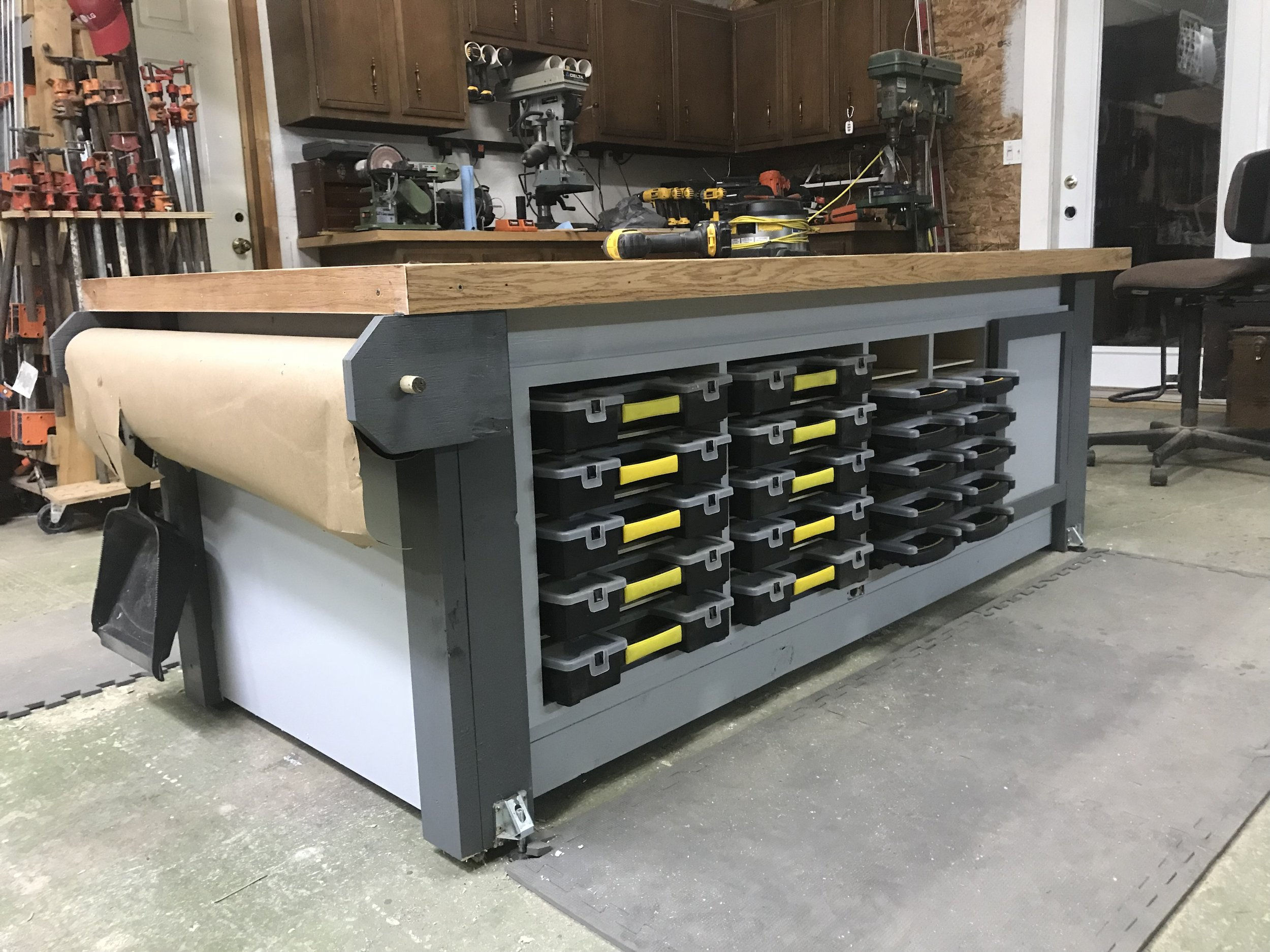 Building an Assembly Table with Parts Storage!