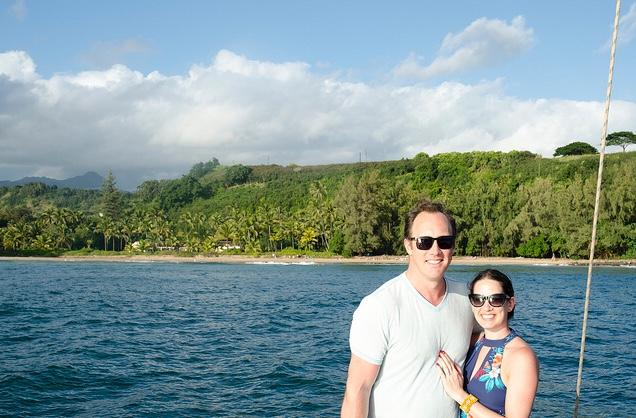On a catamaran touring the south shore of Kauai. (photo: Sam, another tourist)