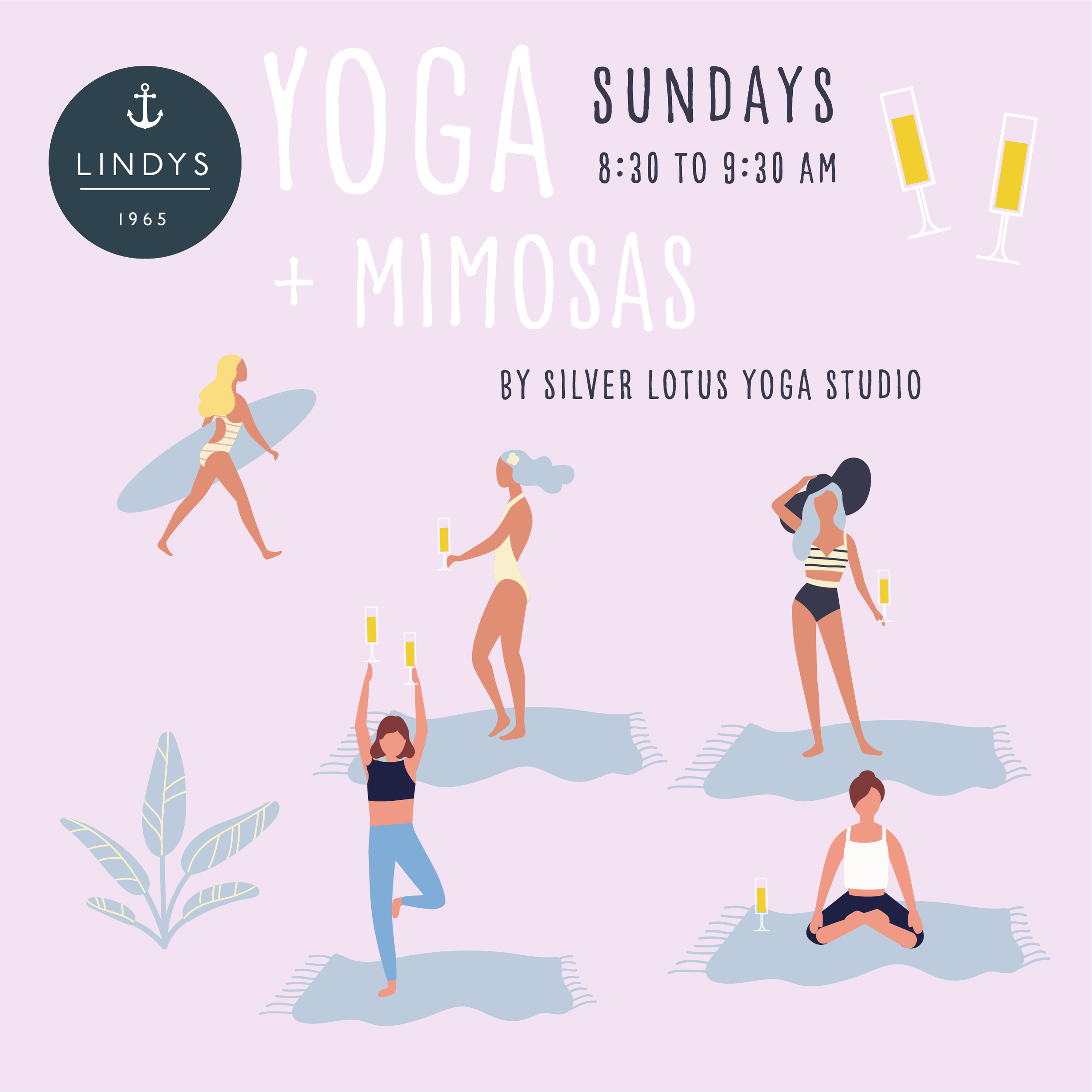 this Sunday July 28th - $15 per personNo sign up needed, just meet us on the beach at Lindy's. Beach towels provided, but please bring a yoga mat if you'd prefer.(mimosas not included in price)Cheers Yogis!