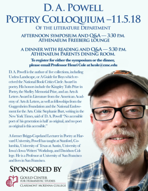 - BOOK RECEPTION FOR D.A. POWELL POETRY COLLOQUIUM OF THE LITERATURE DEPARTMENT