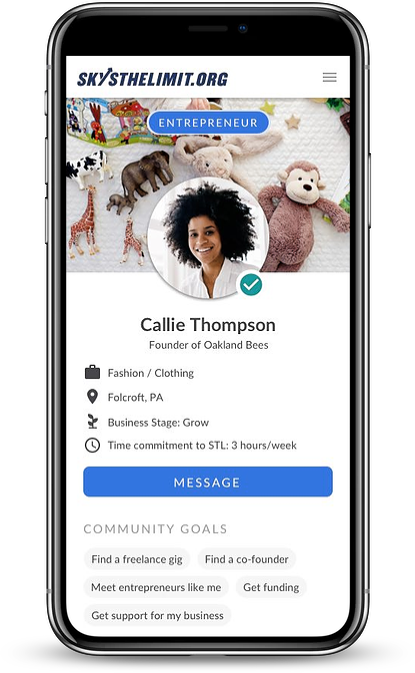 iphone mockup of digital accelerator platform for young underrepresented entrepreneurs building their business and trying to find business mentors