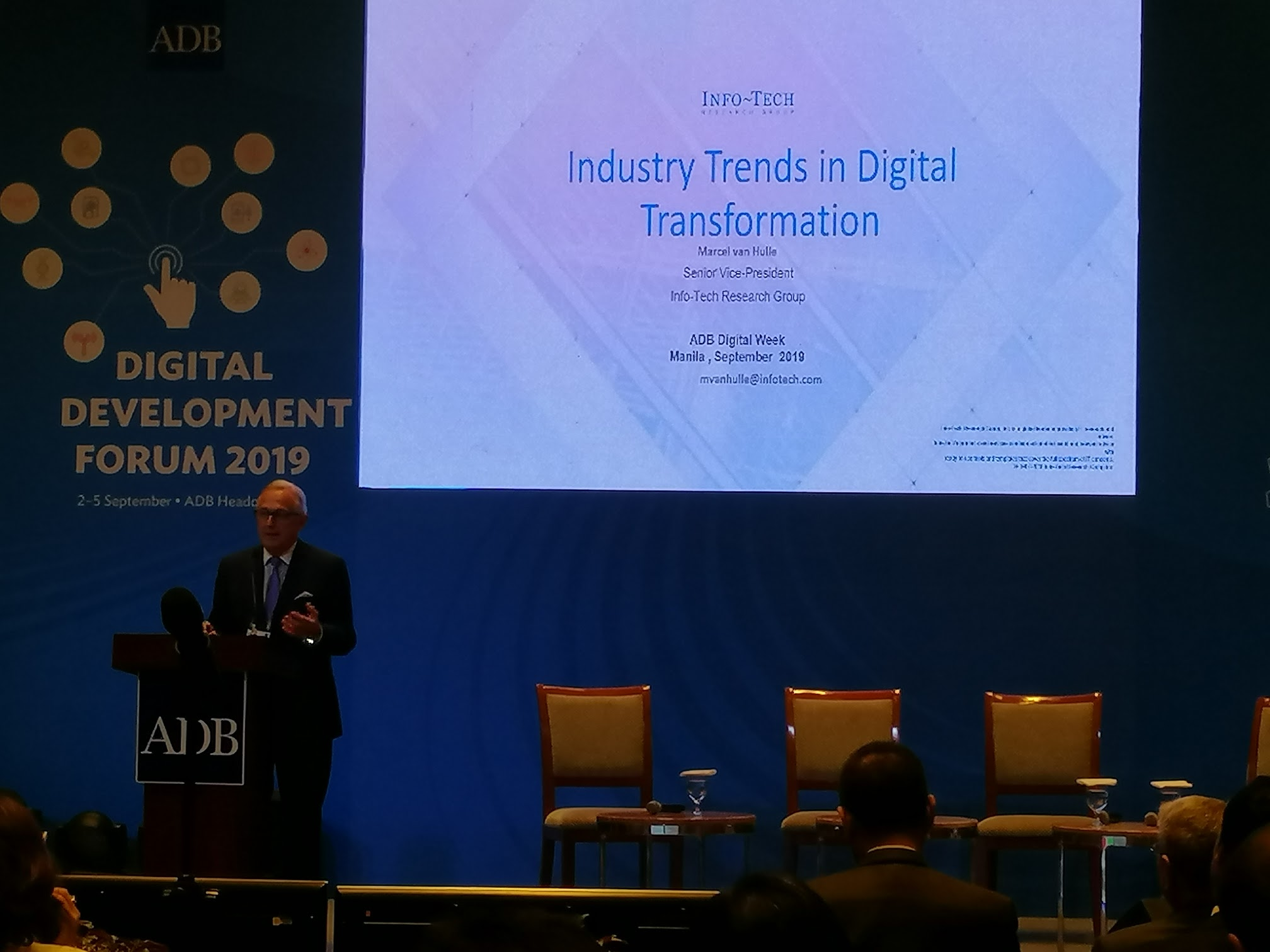 9:22 a.m. - Keynote address from Marcel van Hulle, Senior Vice President of the Info-Tech Research group discusses the industry trends in Digital Transformation.