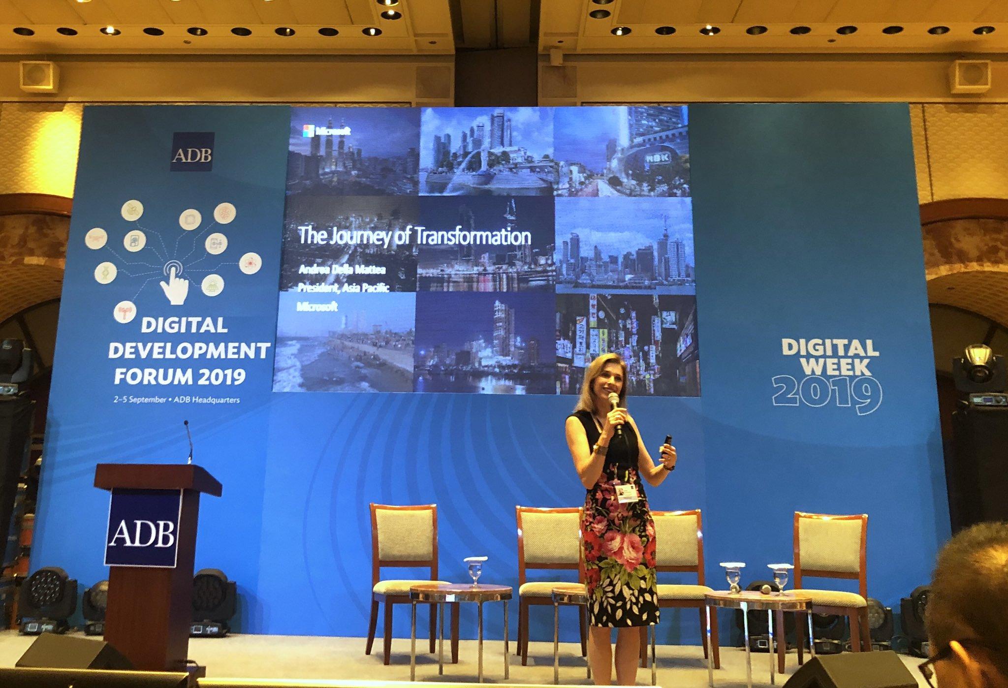 """9:44 a.m. - President Andrea Della Mattea from Microsoft Asia Pacific talks about Microsoft's """"Journey of Transformation""""."""