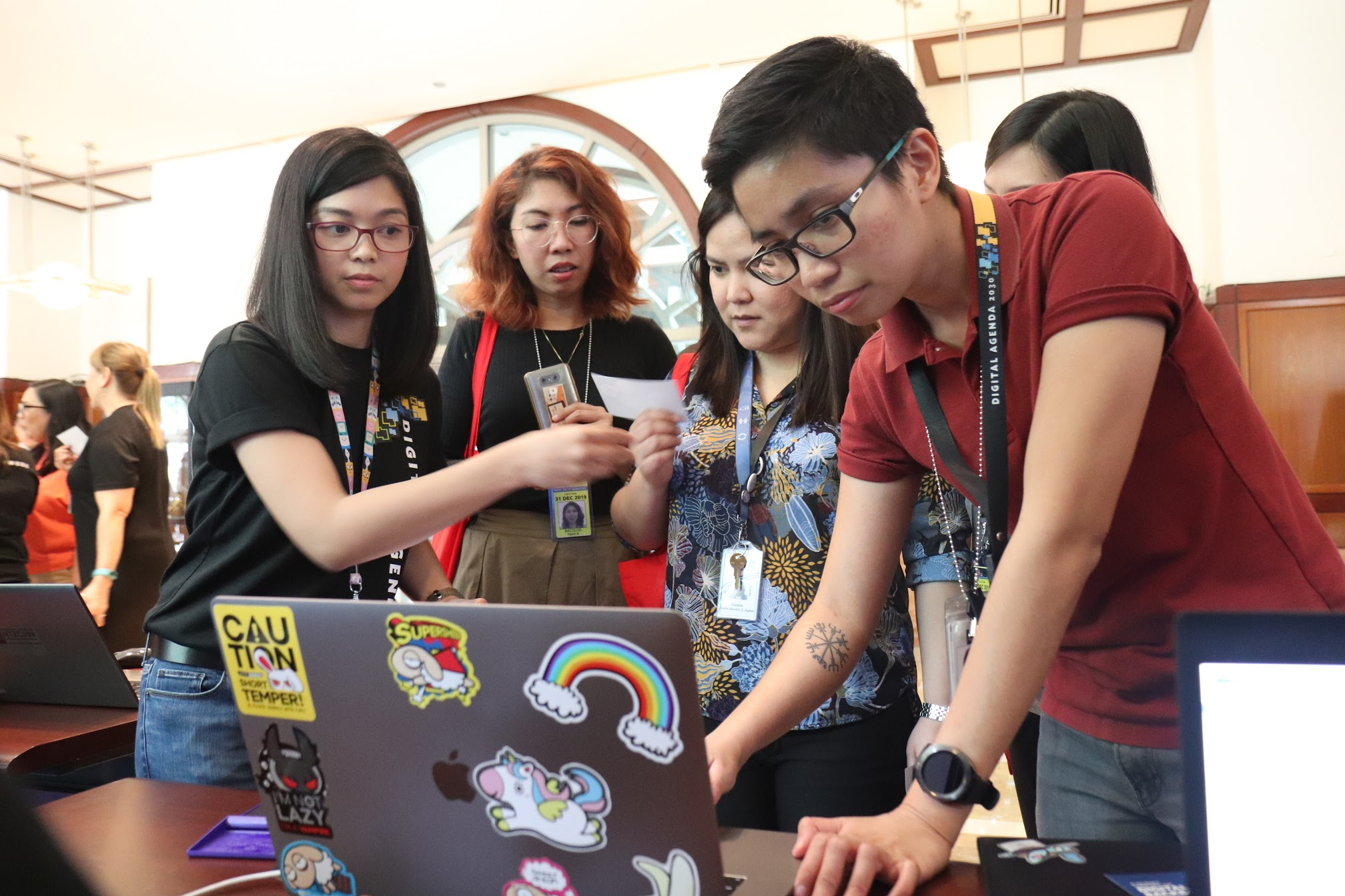 11:57 a.m. - The attendees do their best to win freebies from the booths!